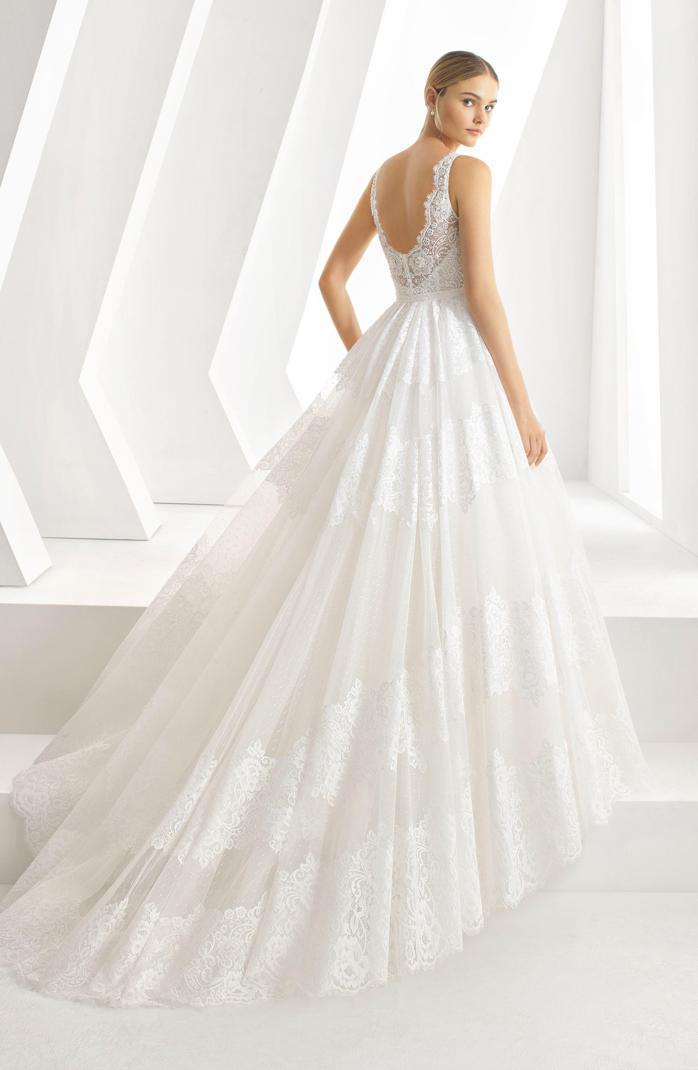 Delfina Lace & Bead A-Line Gown,                             Alternate thumbnail 2, color,                             NATURAL