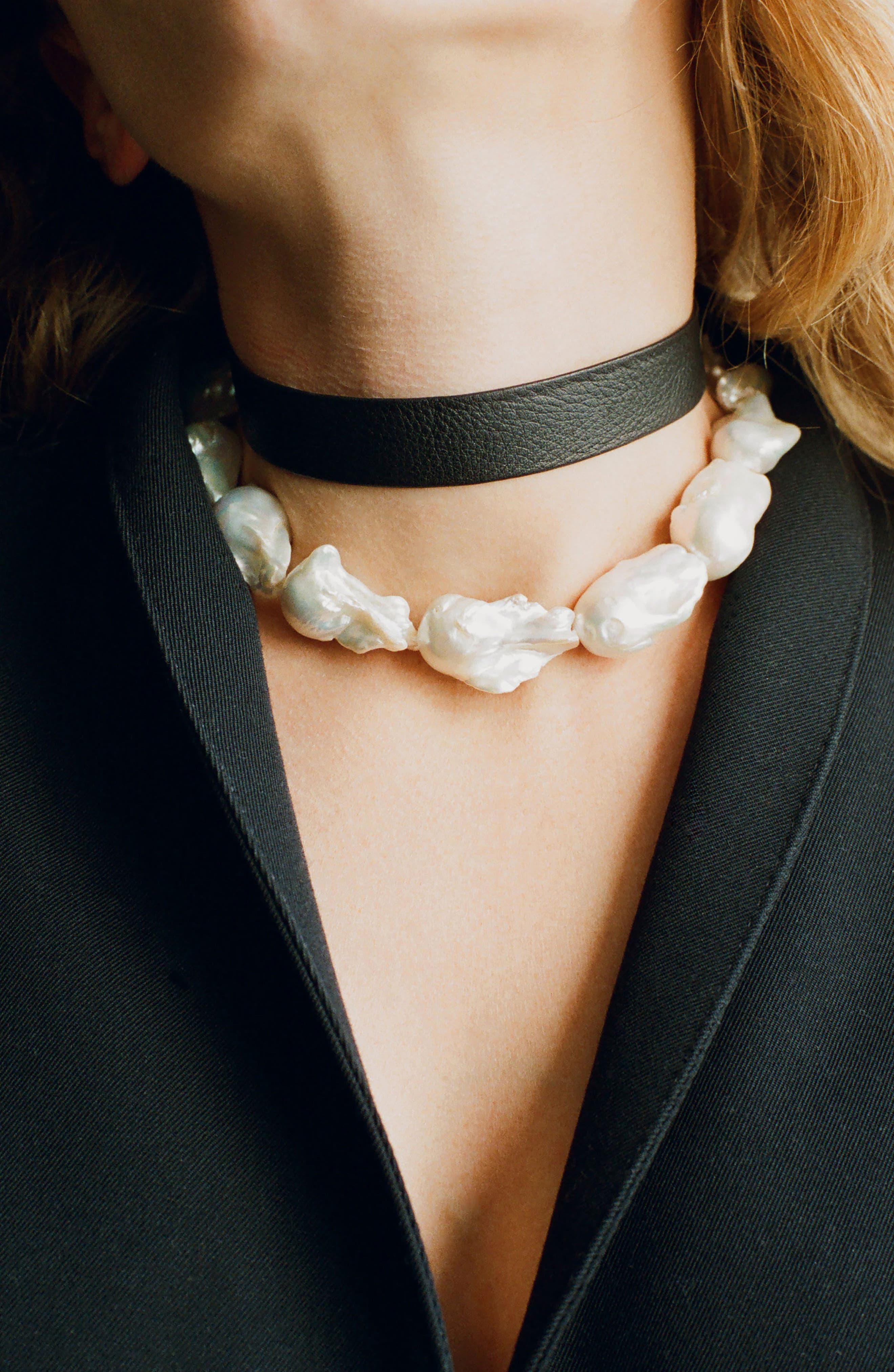 Baroque Pearl Collar Necklace,                             Alternate thumbnail 3, color,                             040