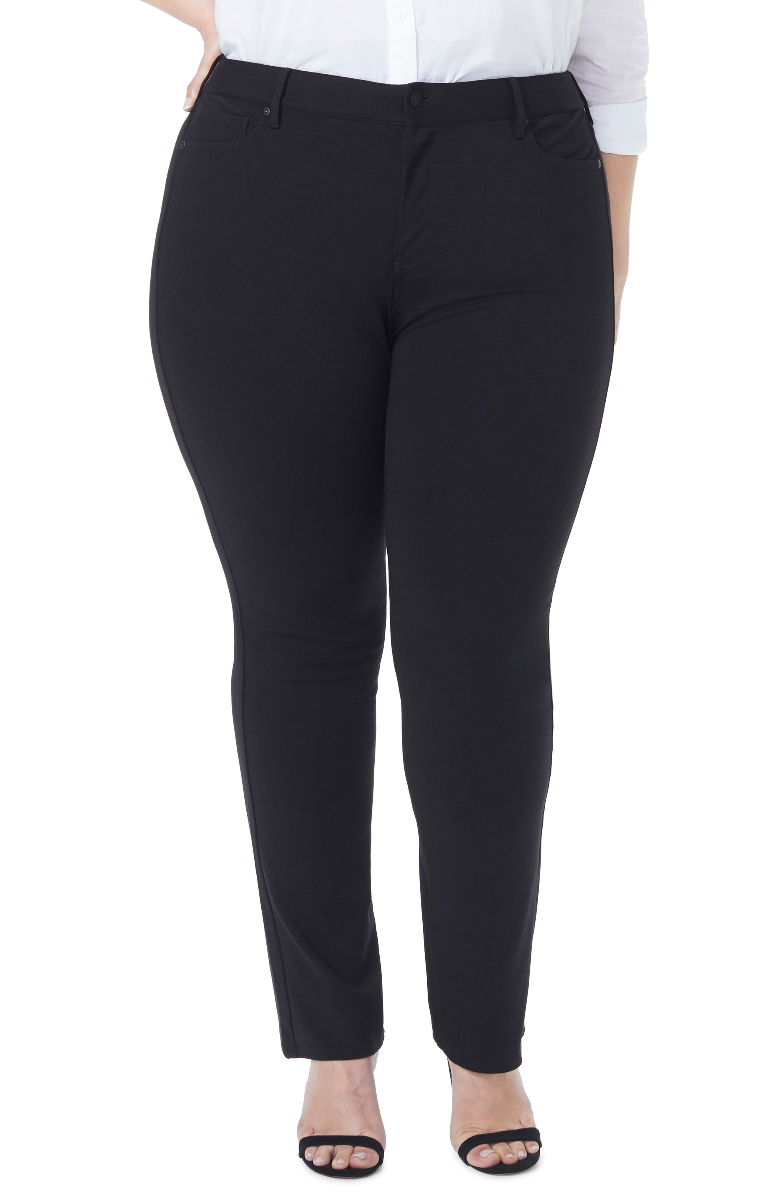 Marilyn Straight Ponte Knit Pants, Main, color, BLACK