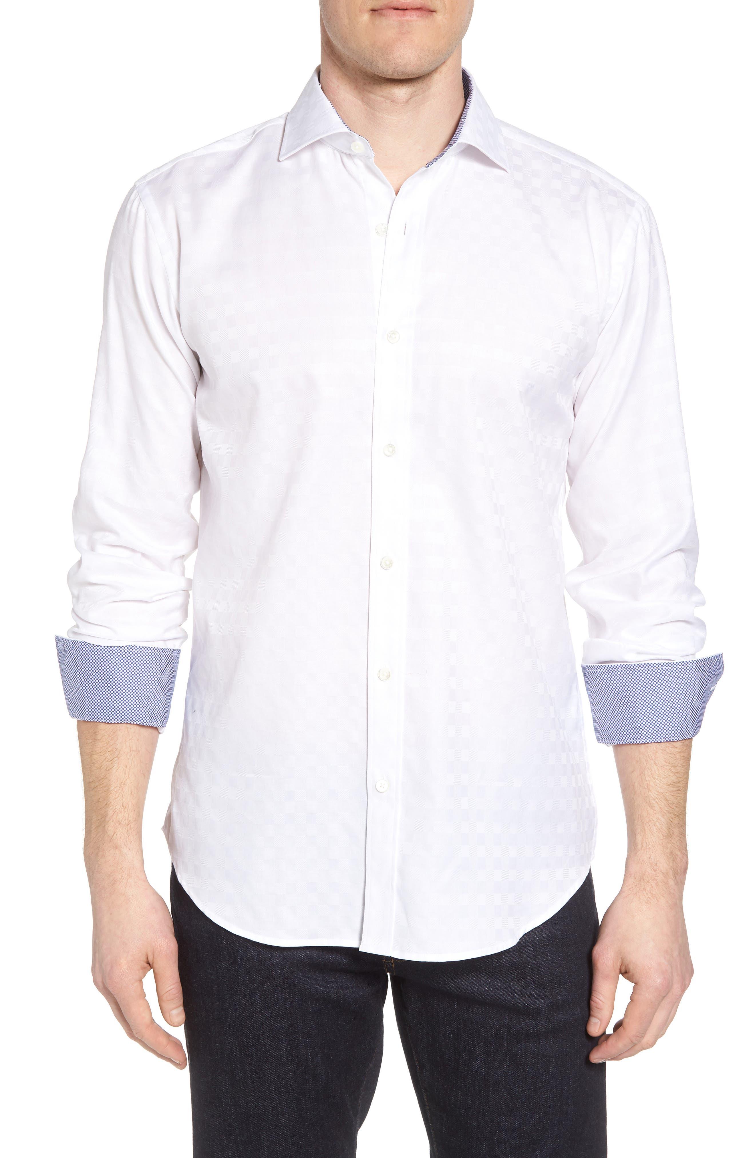 Shaped Fit Tonal Check Sport Shirt,                         Main,                         color, WHITE