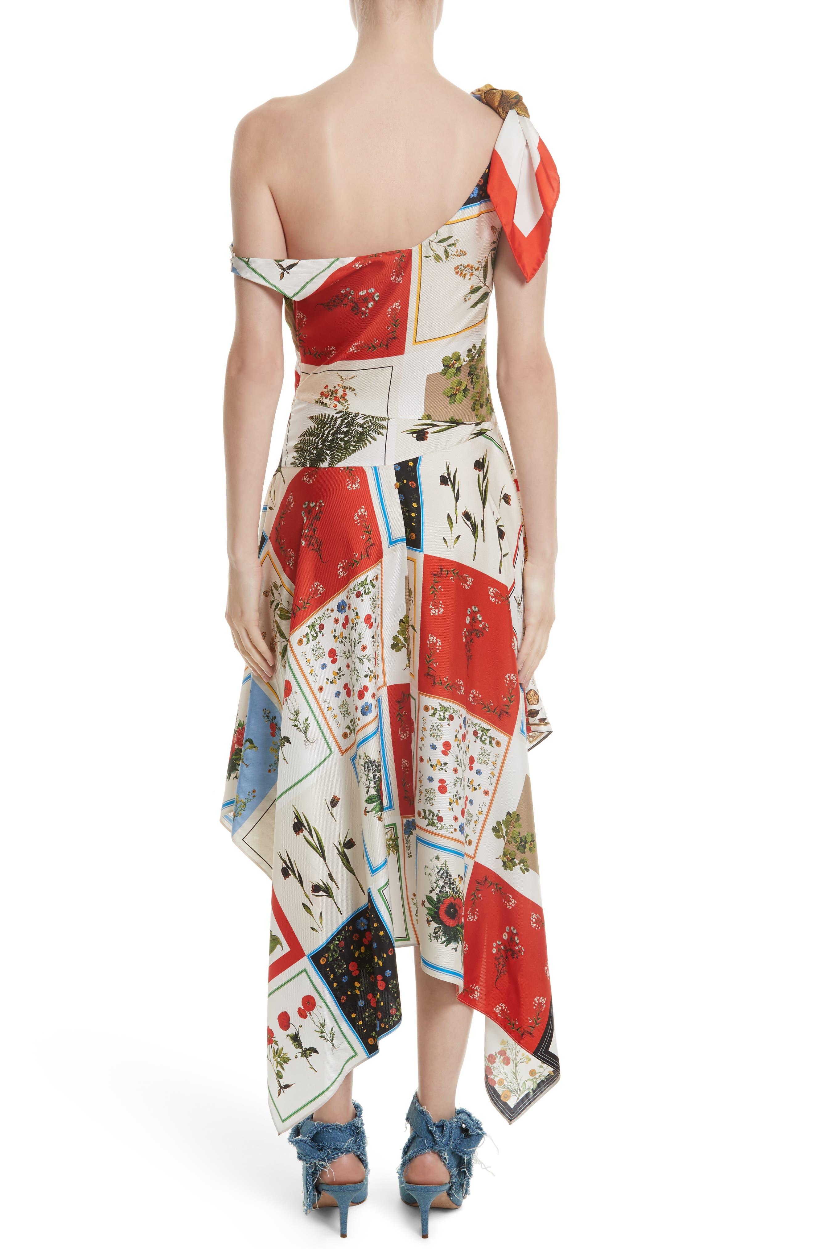 Patchwork Silk One-Shoulder Dress,                             Alternate thumbnail 2, color,                             908