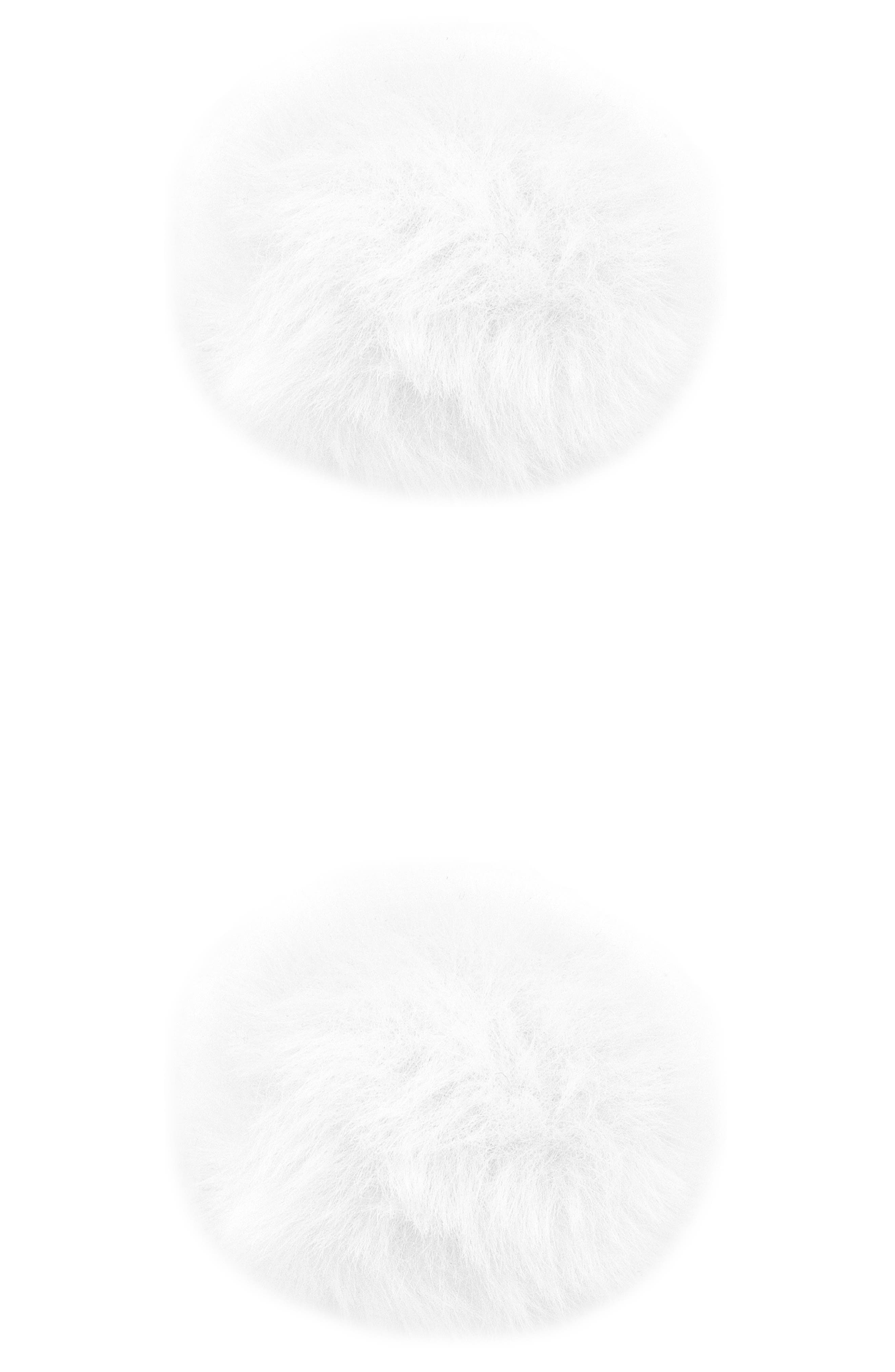 2-Pack Faux Furball Hair Clips,                             Alternate thumbnail 2, color,                             WHITE