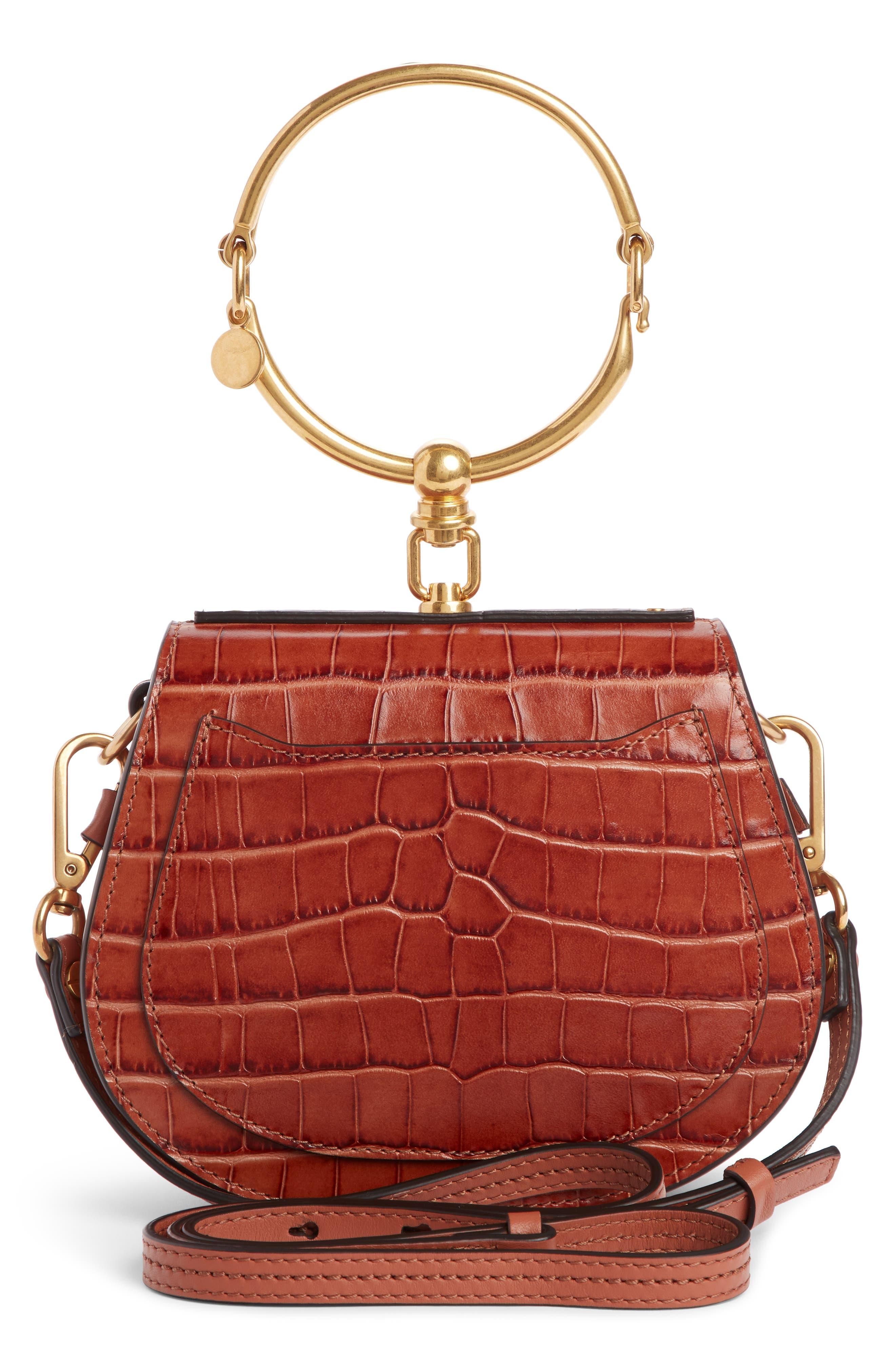 CHLOÉ,                             Nile Bracelet Croc Embossed Leather Crossbody Bag,                             Alternate thumbnail 4, color,                             CHESTNUT BROWN