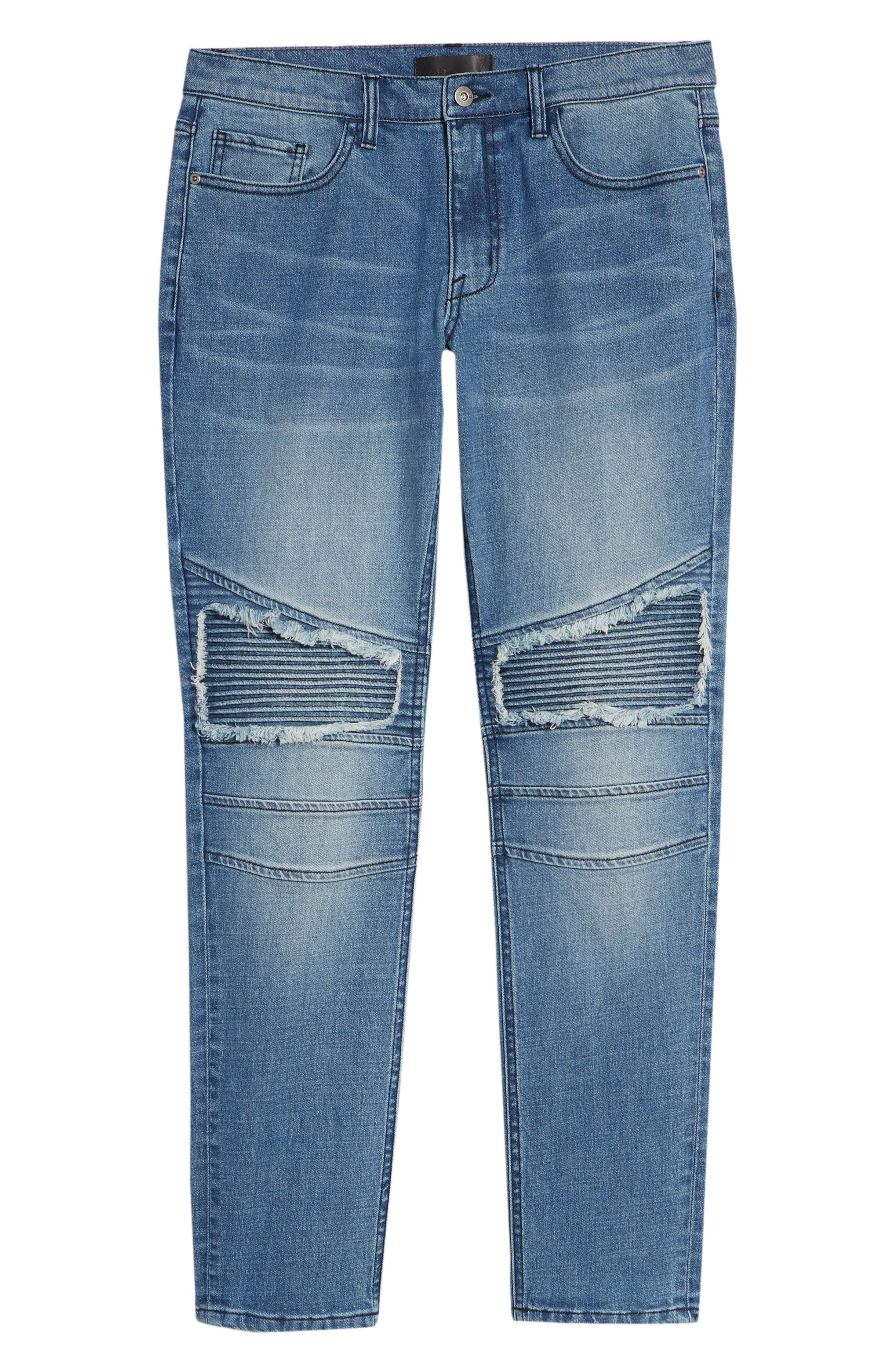 Skinny Moto Jeans,                             Alternate thumbnail 6, color,                             BLUE RIVERS WASH