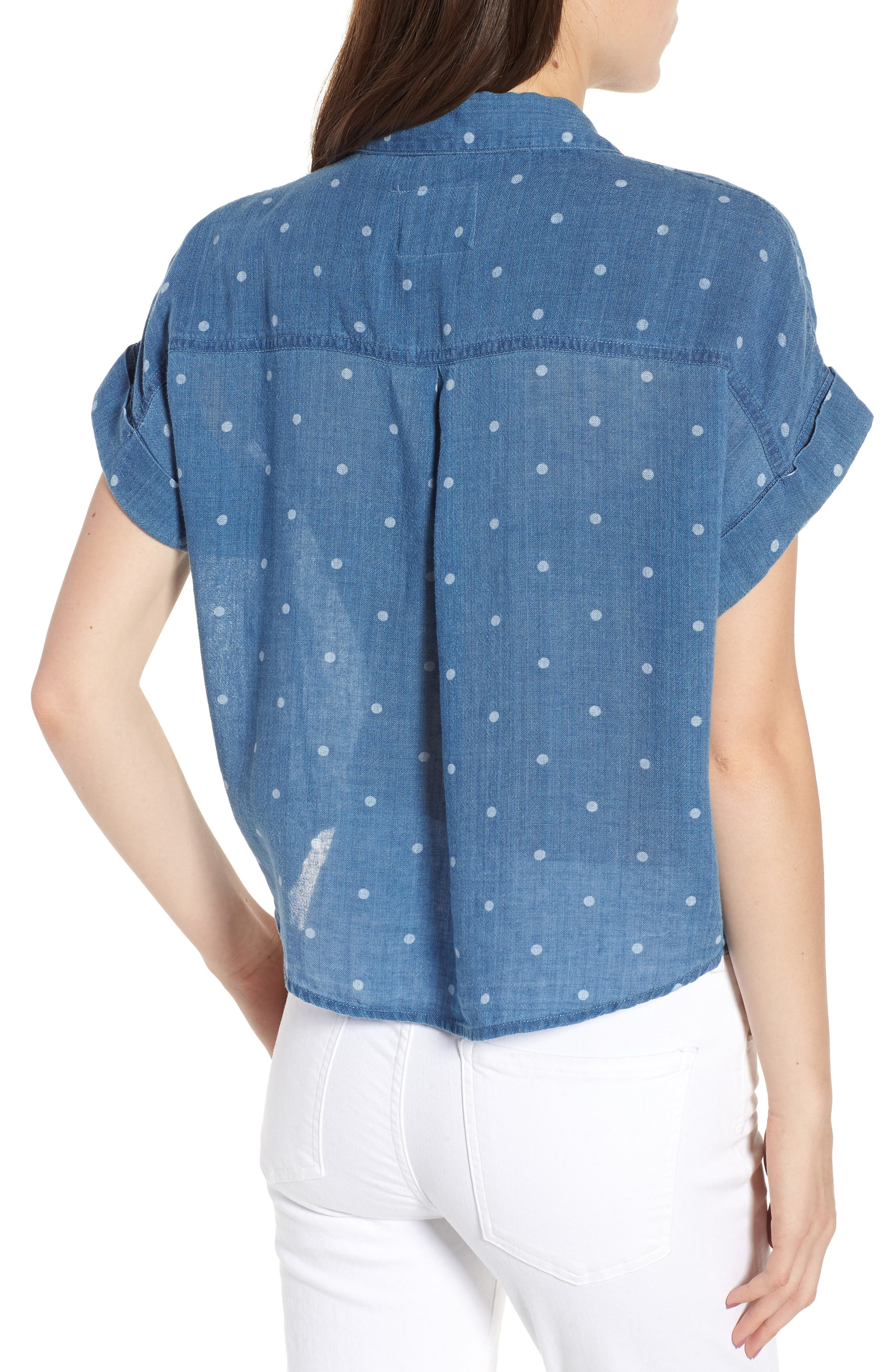 Amelie Tie Front Shirt,                             Alternate thumbnail 2, color,                             INDIGO WHITE POLKA DOTS