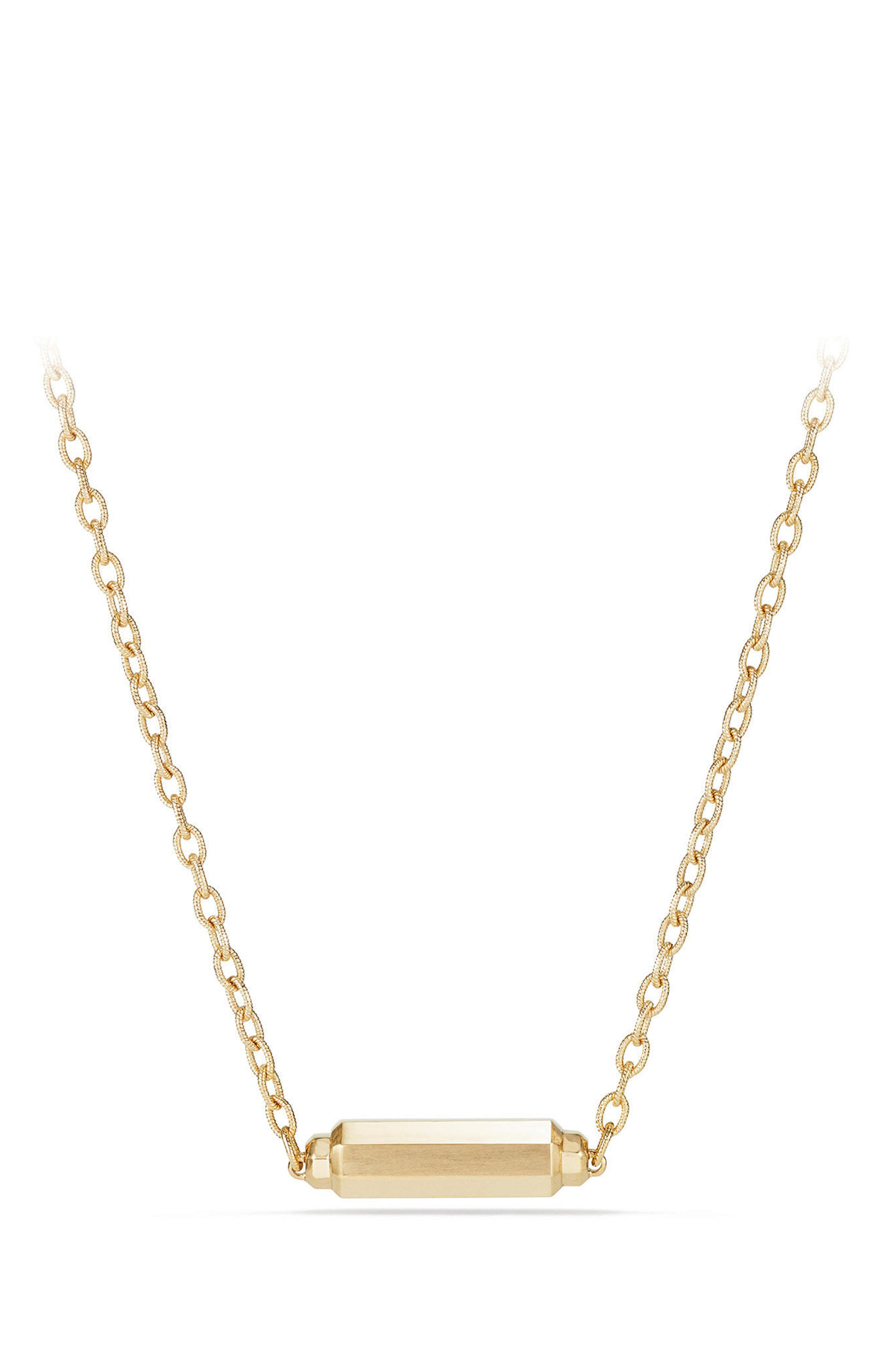 Barrels Single Station Necklace with Diamonds in 18K Gold,                             Alternate thumbnail 3, color,                             YELLOW GOLD