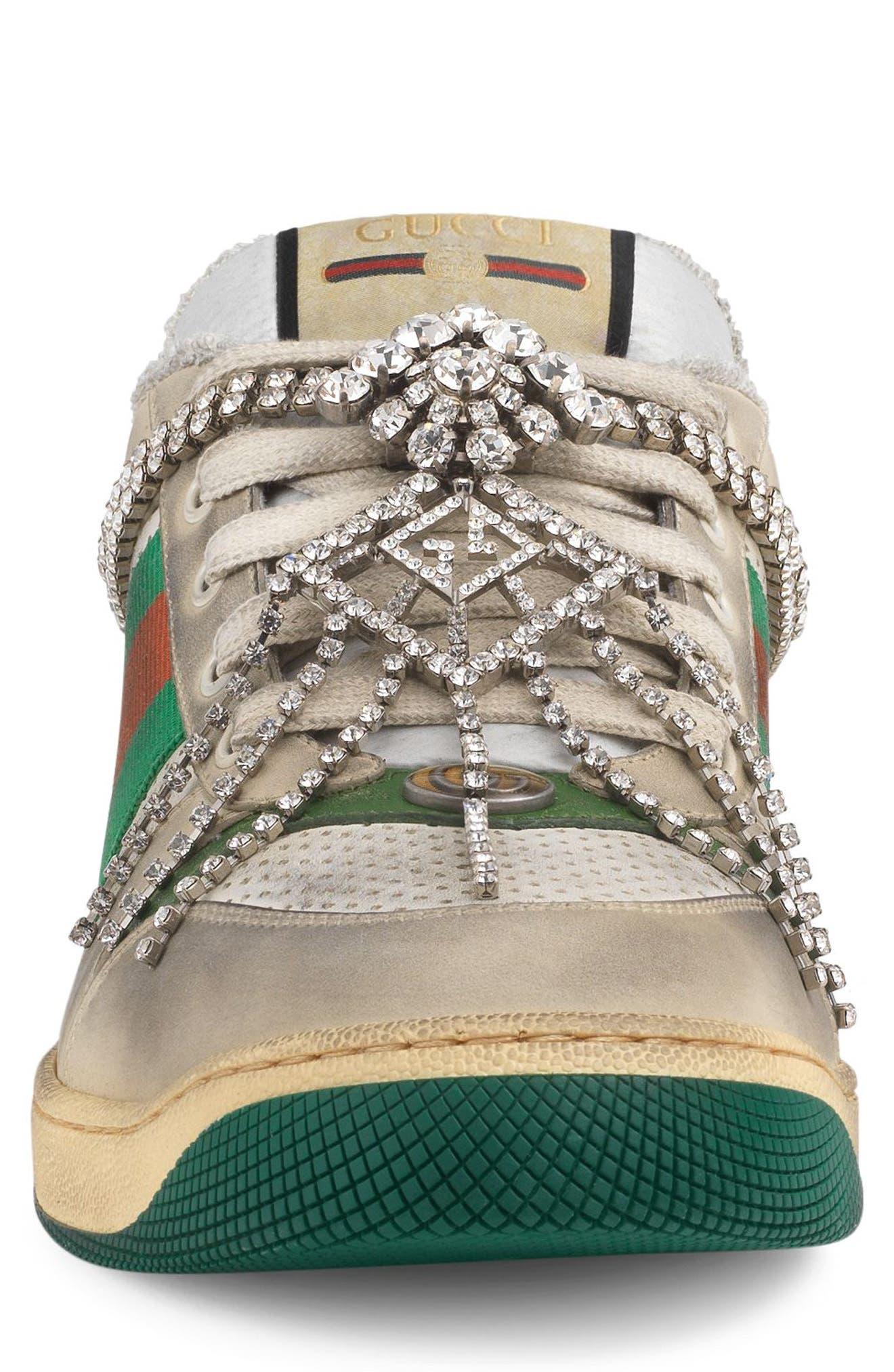 Screener Jewel Sneaker,                             Alternate thumbnail 4, color,                             BEIGE/ GREEN/ RED