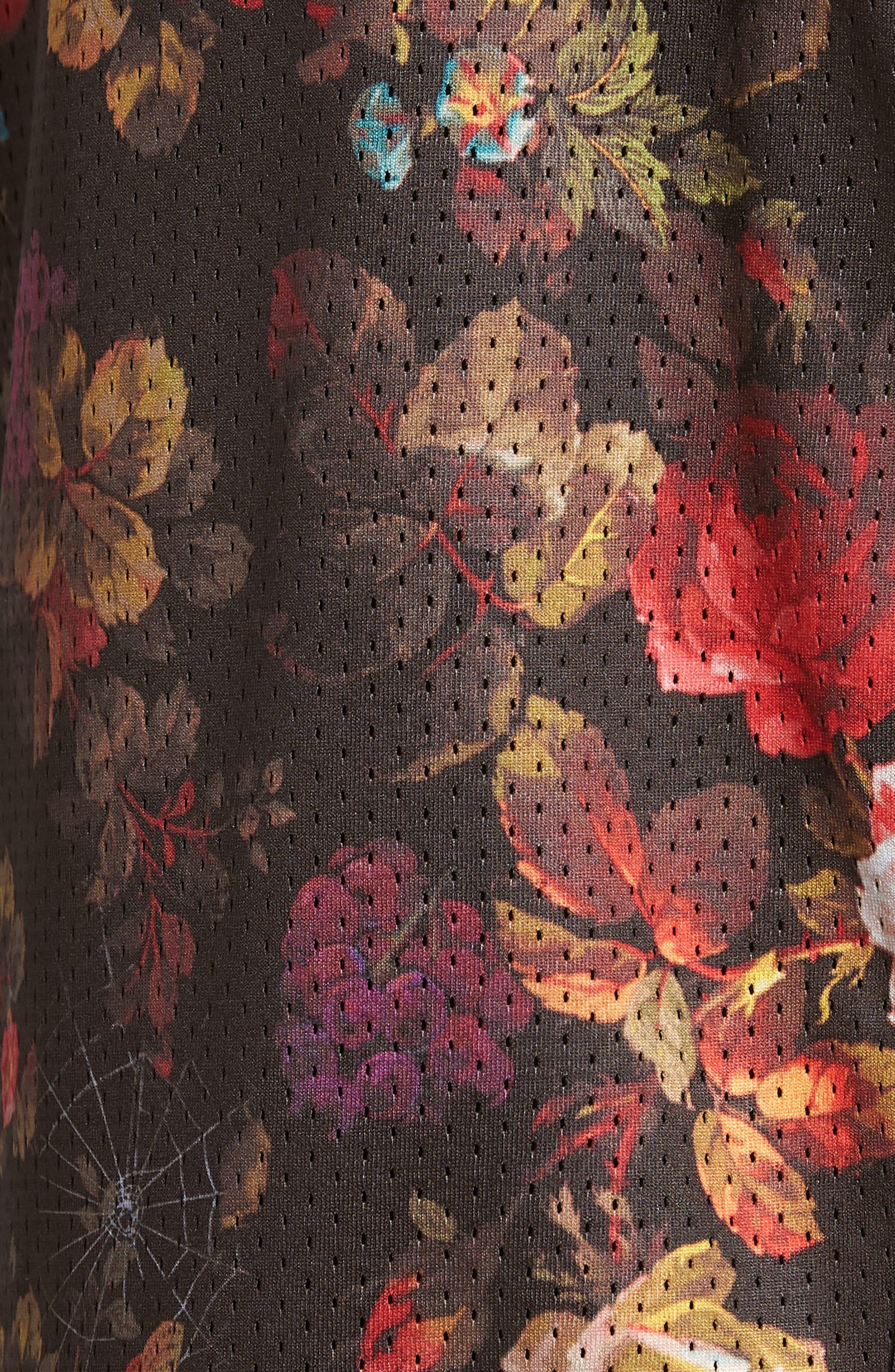 Dry Floral Shorts,                             Alternate thumbnail 5, color,                             BLACK/ WHITE