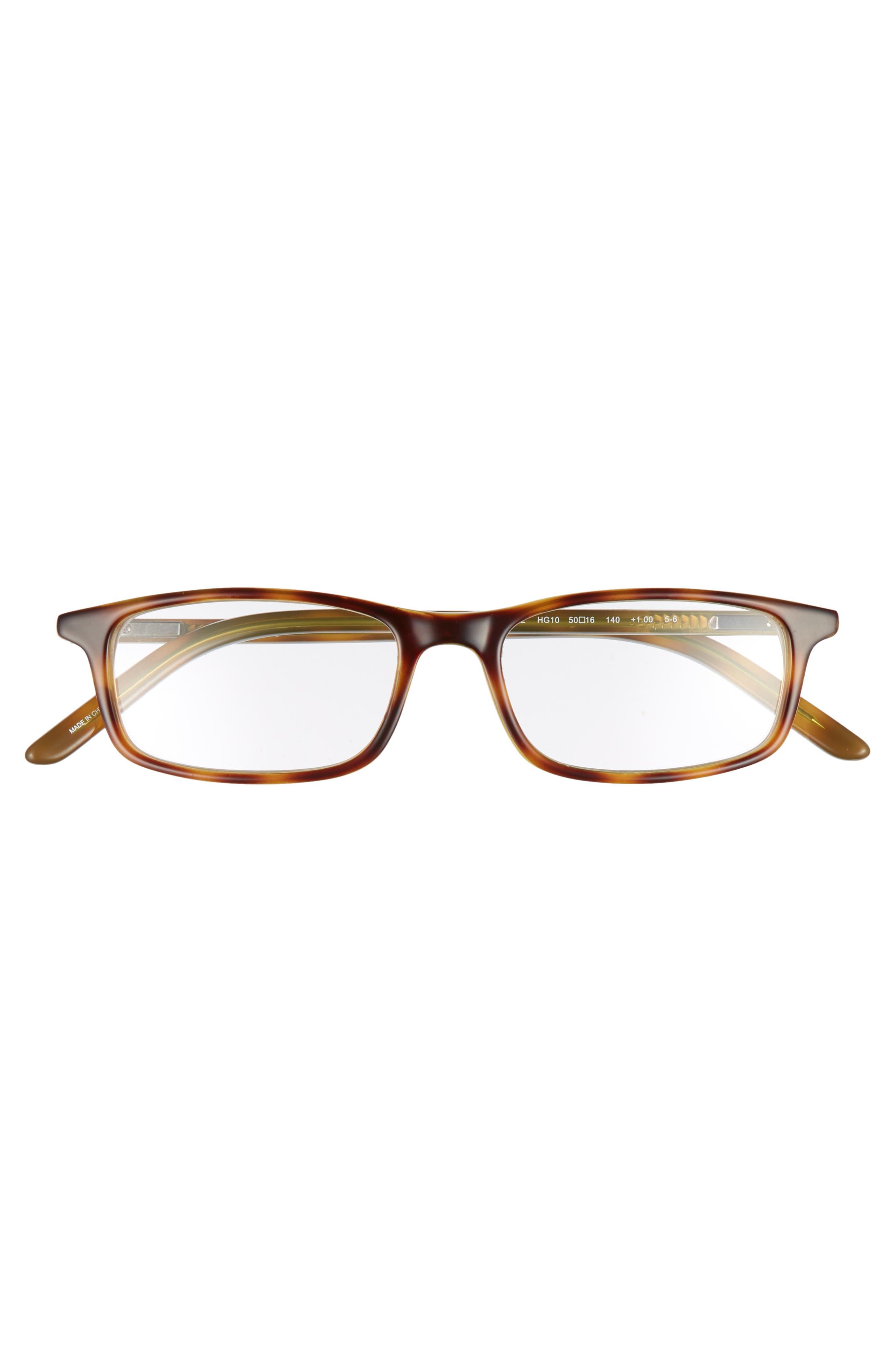 jodie 50mm reading glasses,                             Alternate thumbnail 3, color,                             HAVANA GREEN