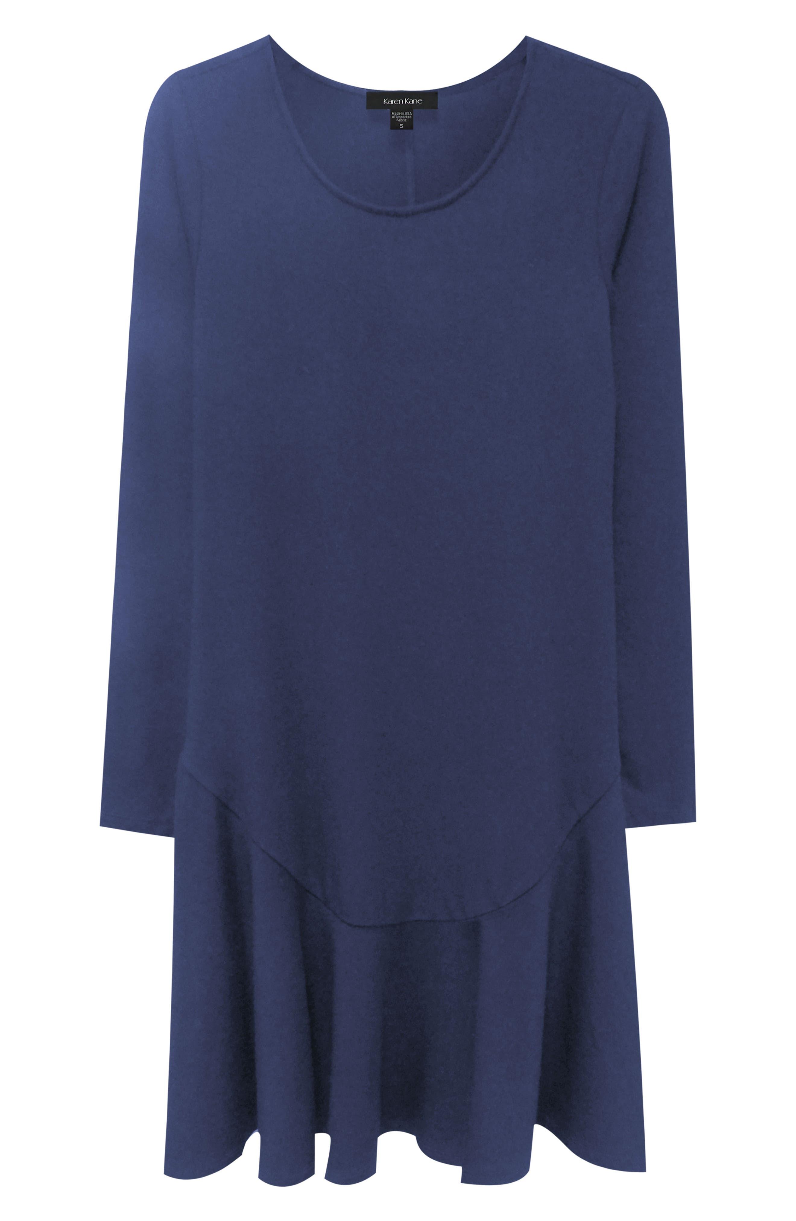 Karen Kane Dakota Ruffle Hem A-Line Dress, Blue