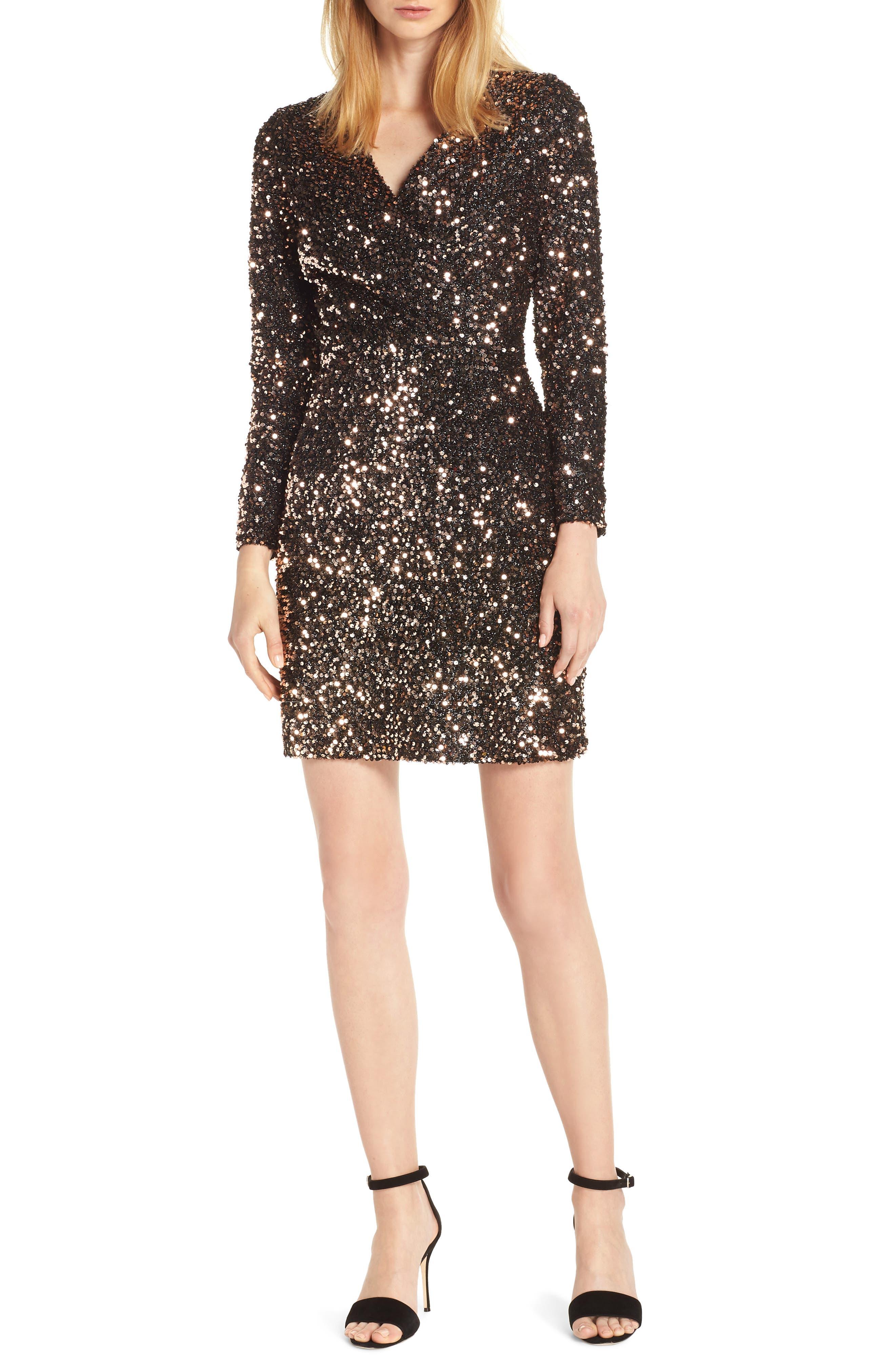 Sequin Sheath Dress,                         Main,                         color, BRONZE