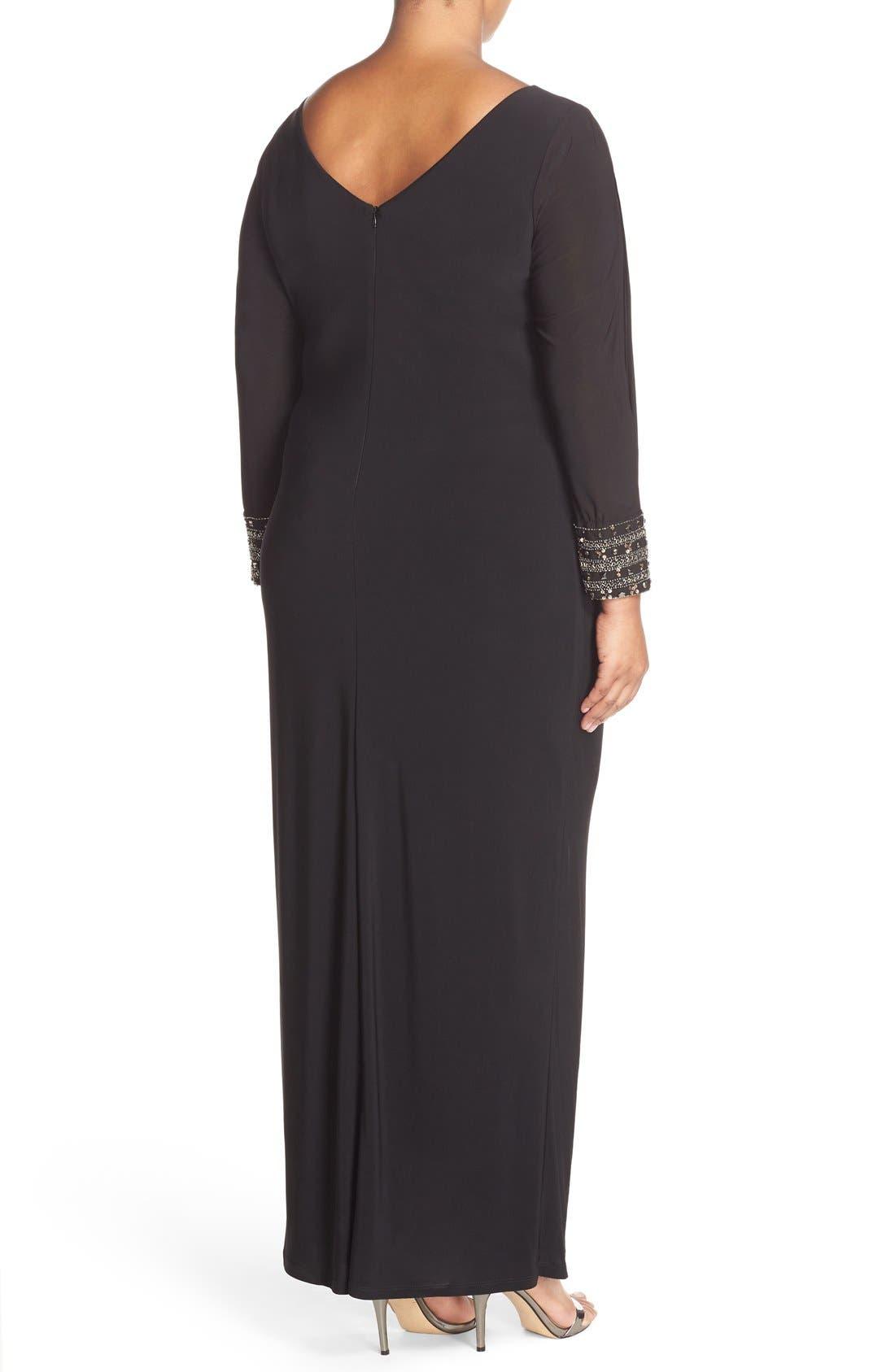 Embellished Stretch Jersey Long Dress,                             Alternate thumbnail 2, color,                             BLACK/ GOLD