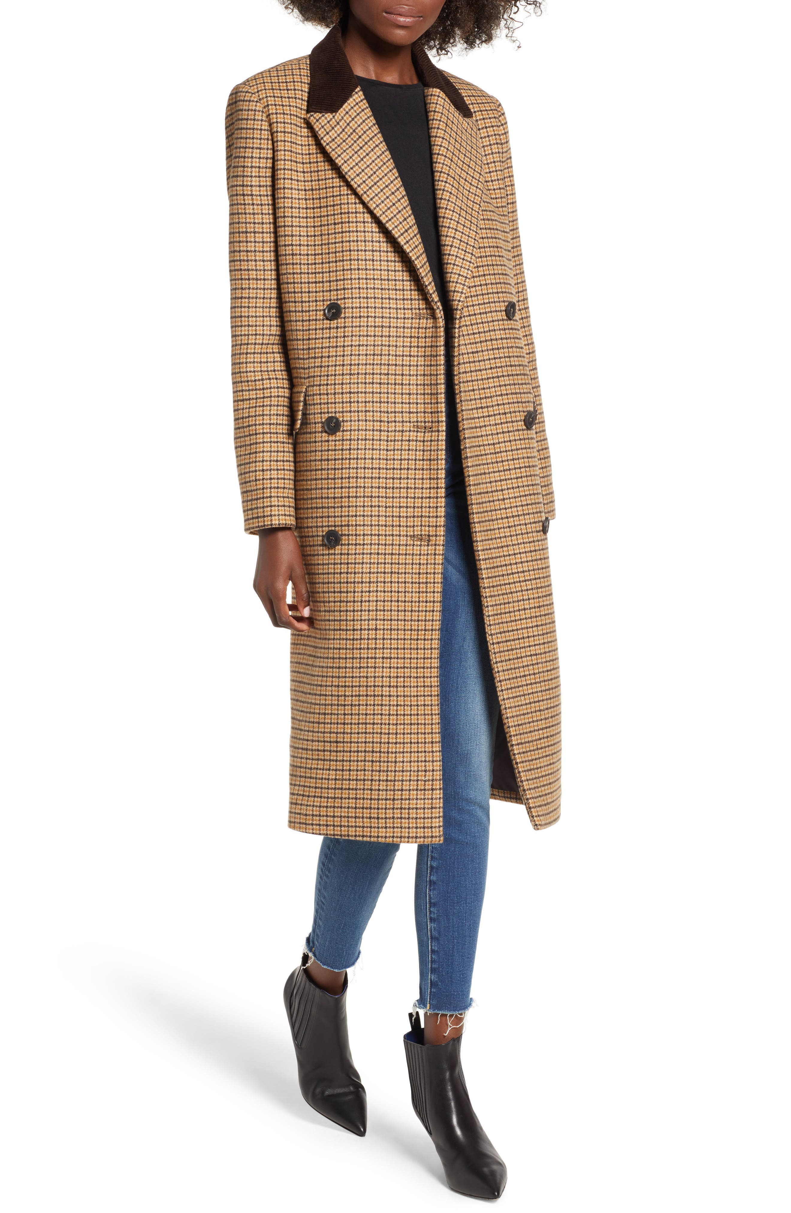 MOON RIVER Houndstooth Double Breasted COat, Main, color, BROWN PLAID