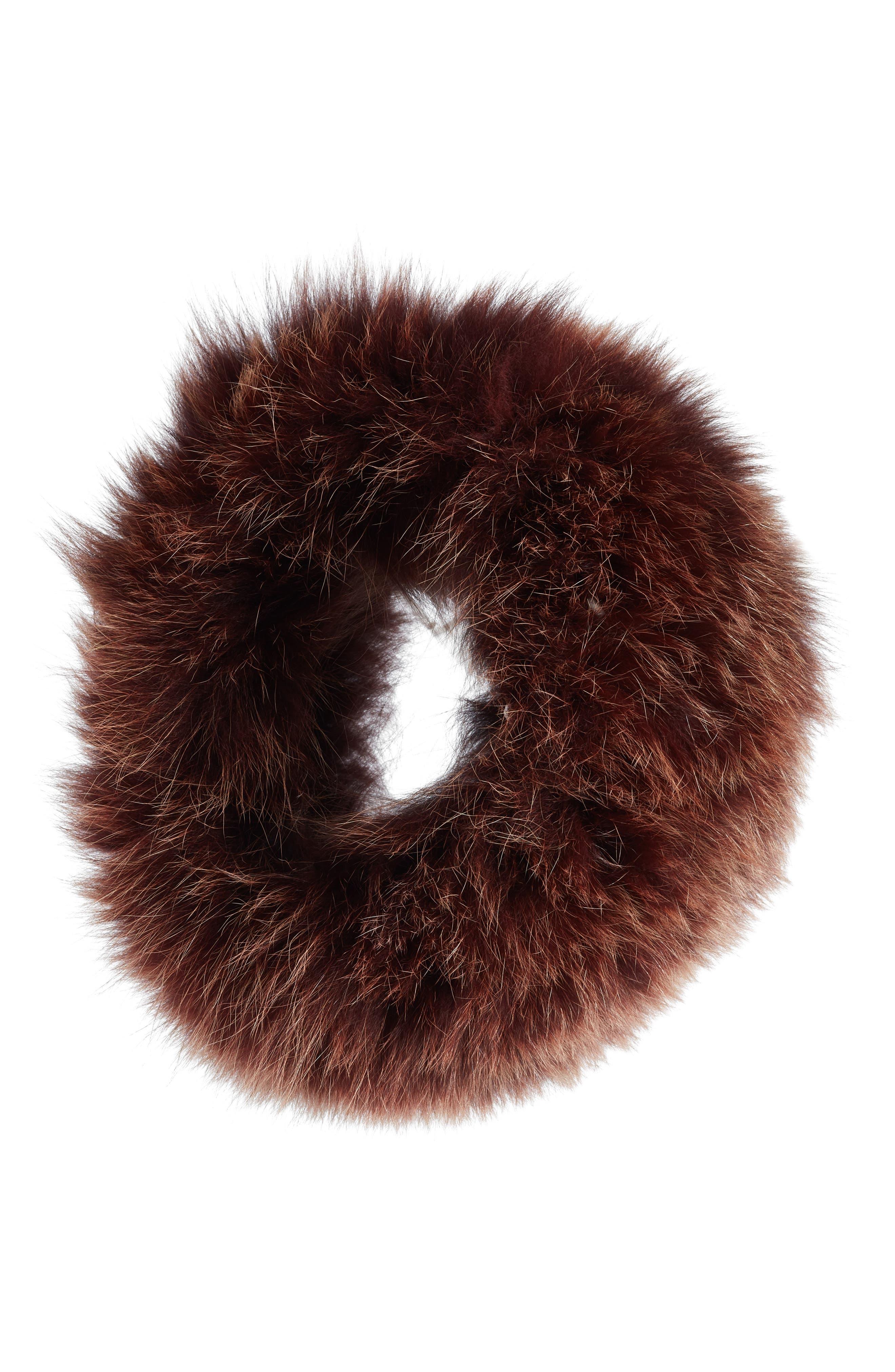 LA FIORENTINA Genuine Fox Fur Headband in Brown