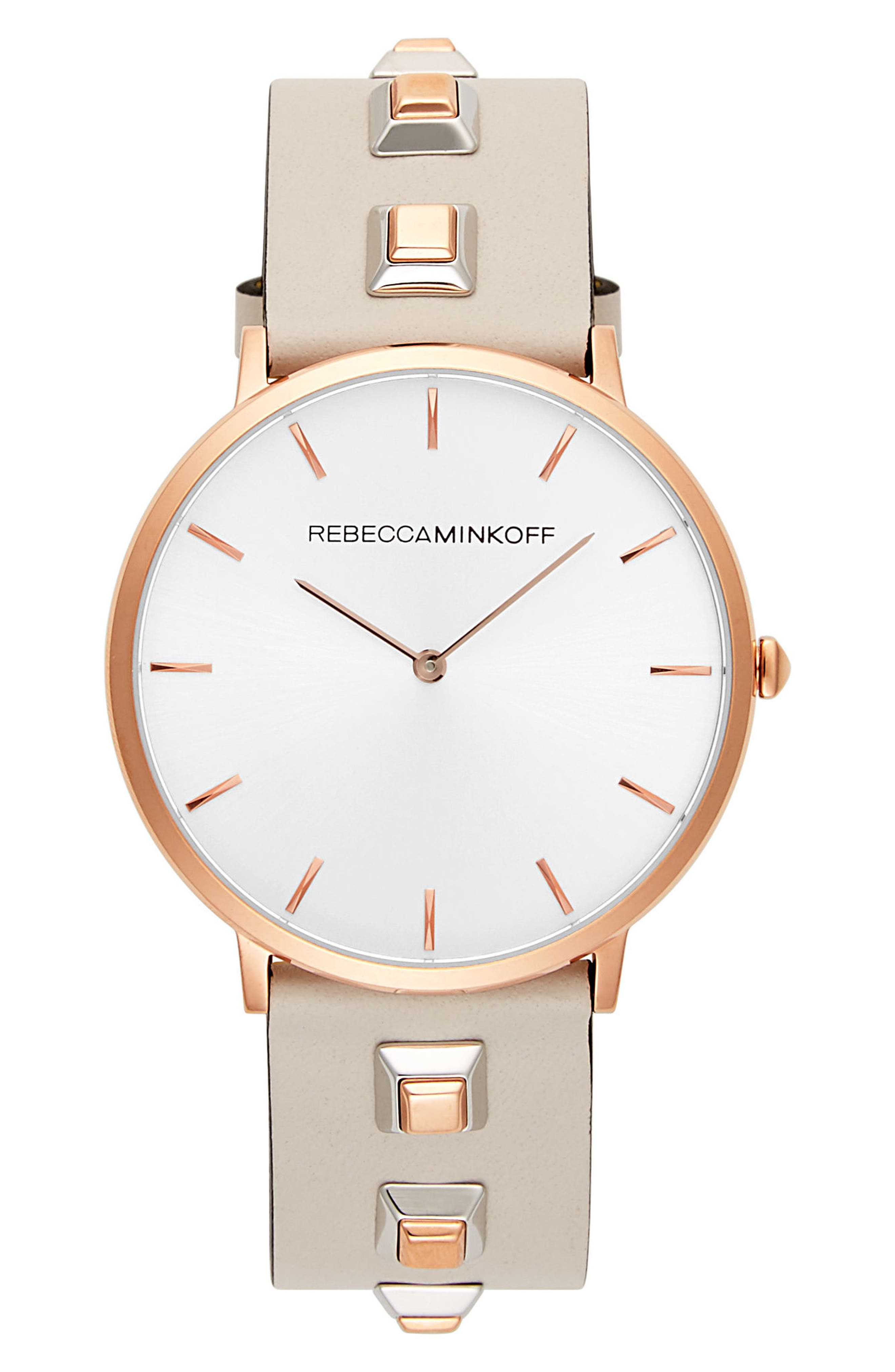 Major Embellished Leather Strap Watch, 40mm,                             Main thumbnail 1, color,                             GREY/ SILVER/ ROSE GOLD