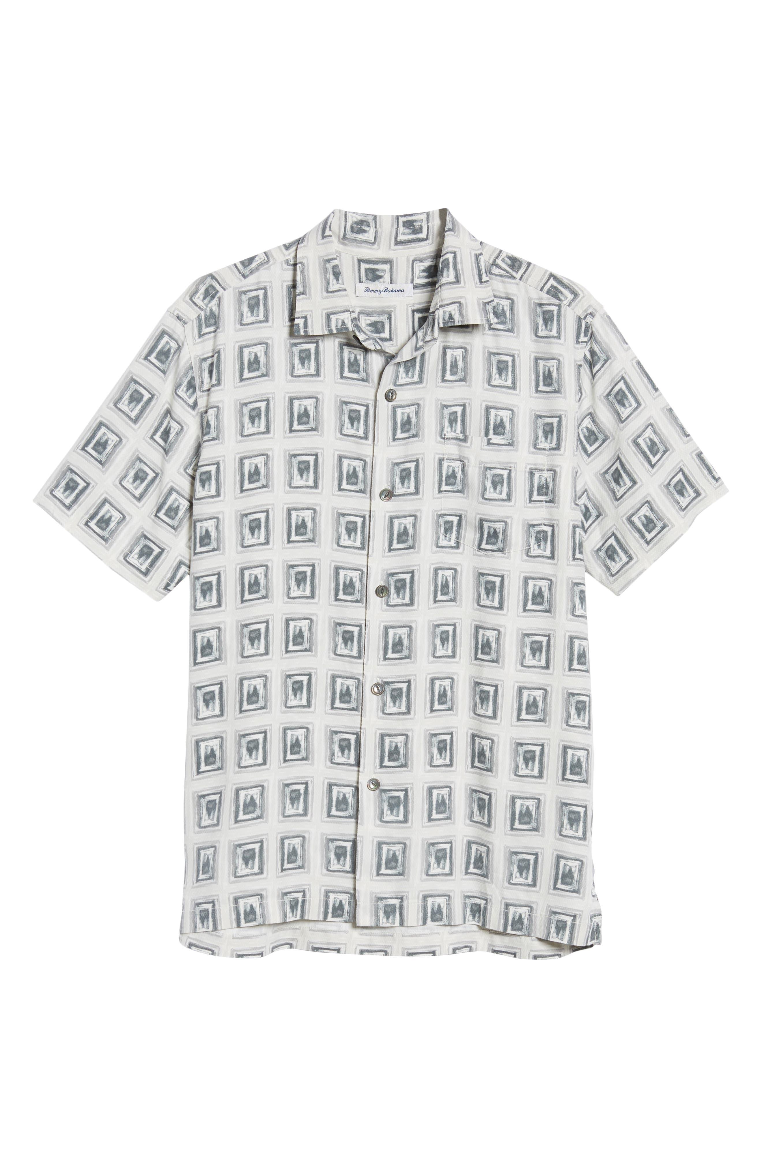 Casa de Quatro Silk Camp Shirt,                             Alternate thumbnail 6, color,                             FOGGY DEW
