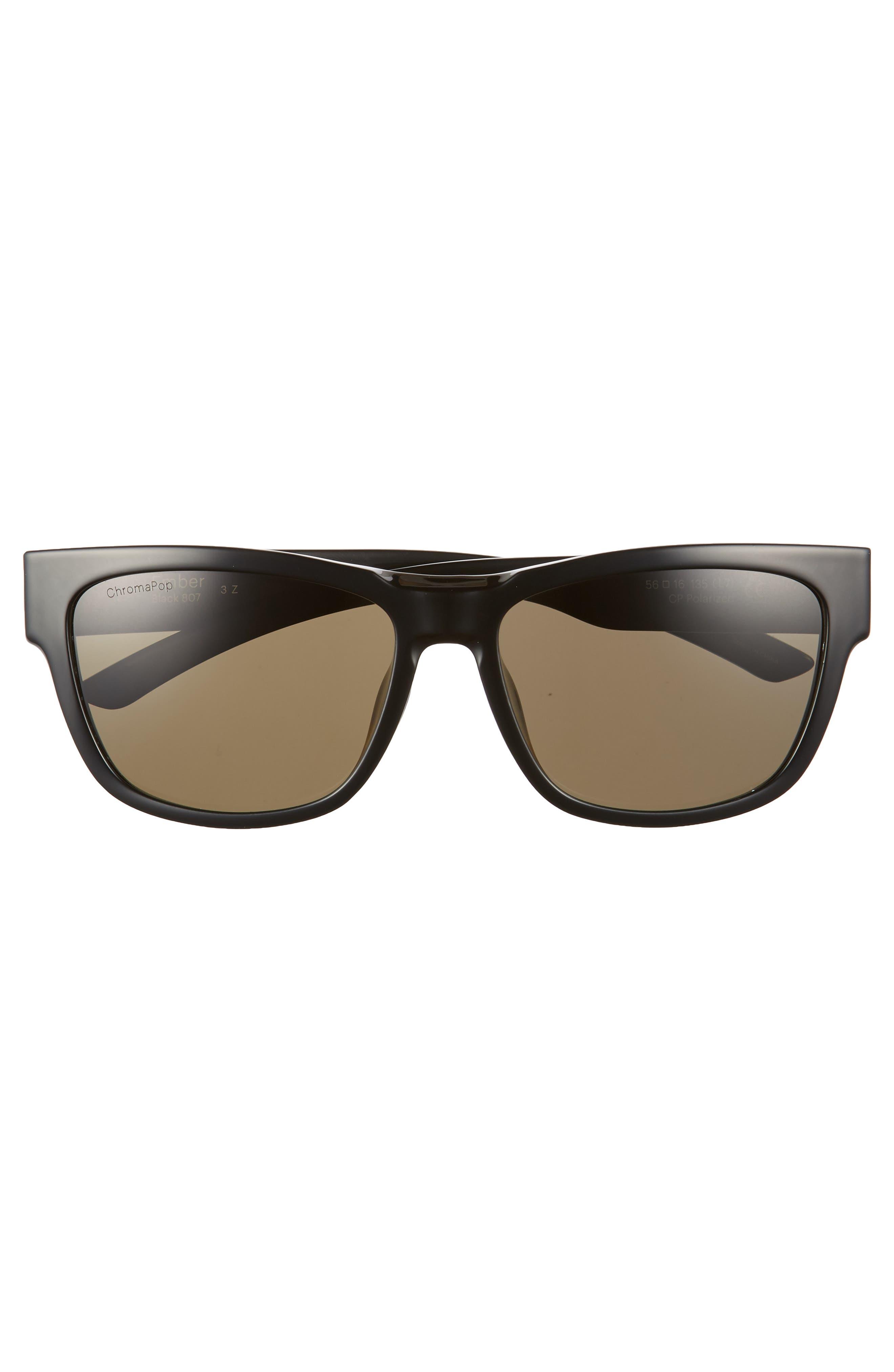 Ember 56mm ChromaPop<sup>™</sup> Square Sunglasses,                             Alternate thumbnail 3, color,                             BLACK