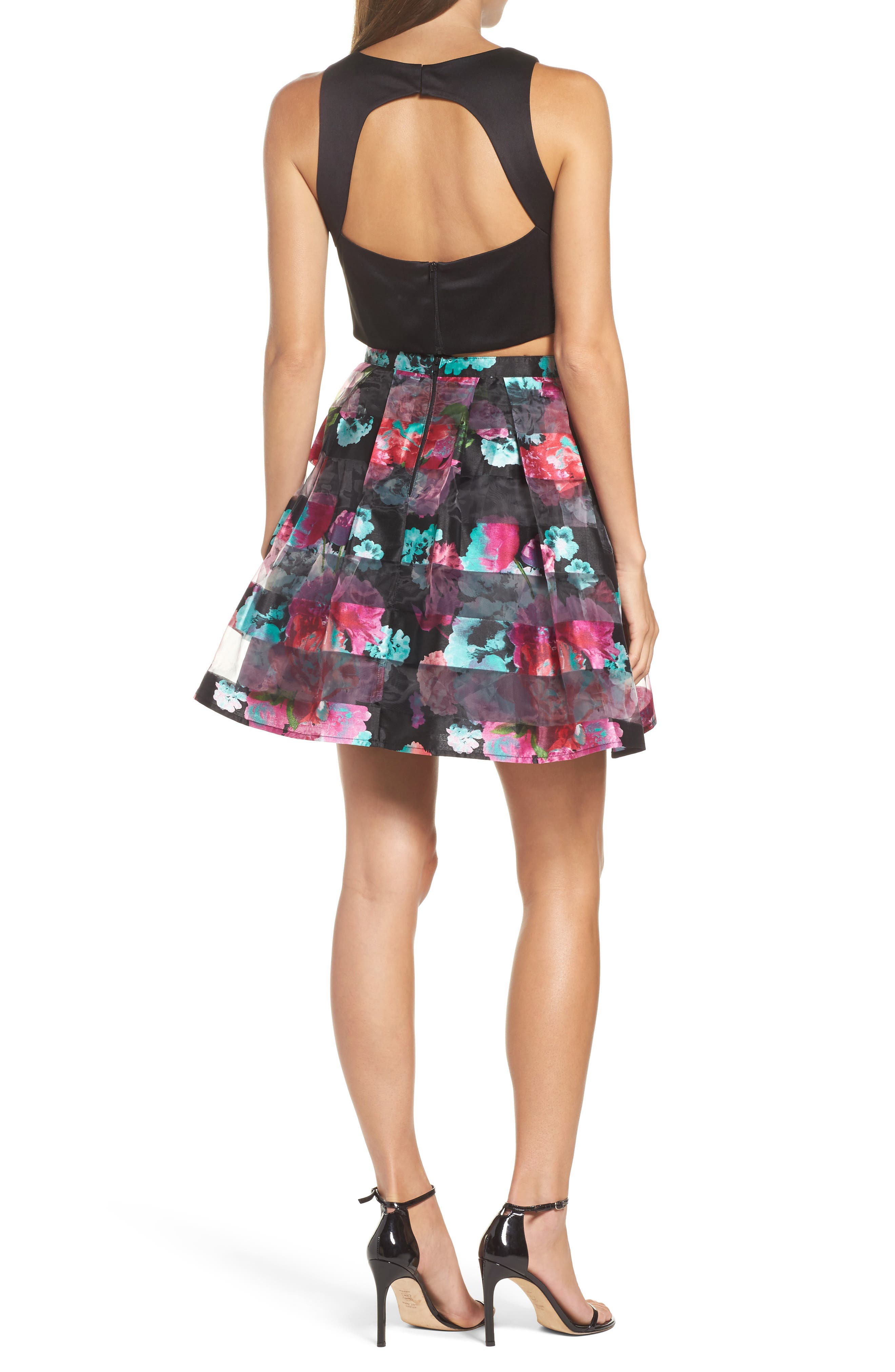 Printed Shadow Skirt Two-Piece Fit & Flare Dress,                             Alternate thumbnail 2, color,                             005
