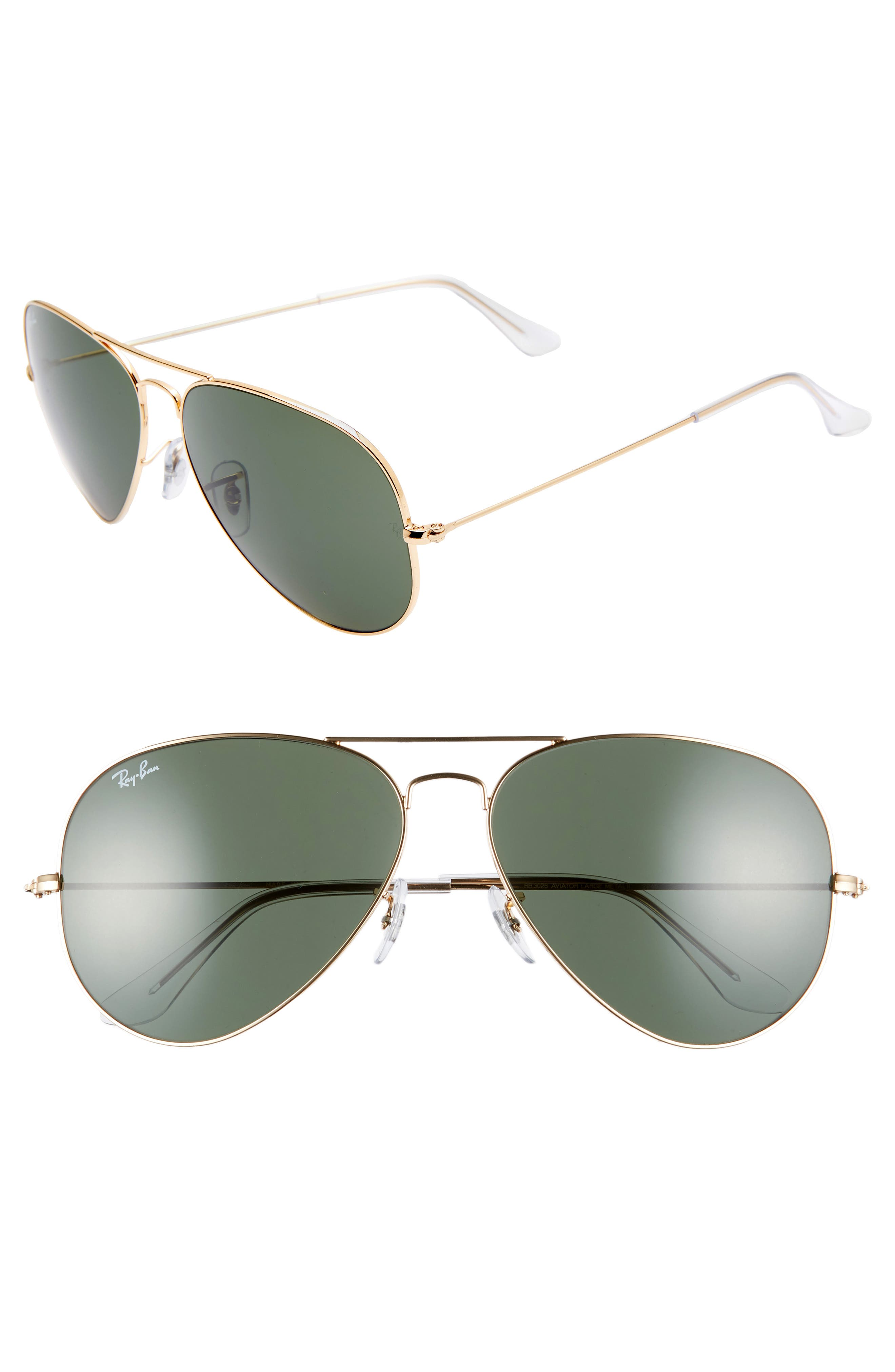 Ray-Ban 62Mm Aviator Sunglasses - Gold/ Green Solid