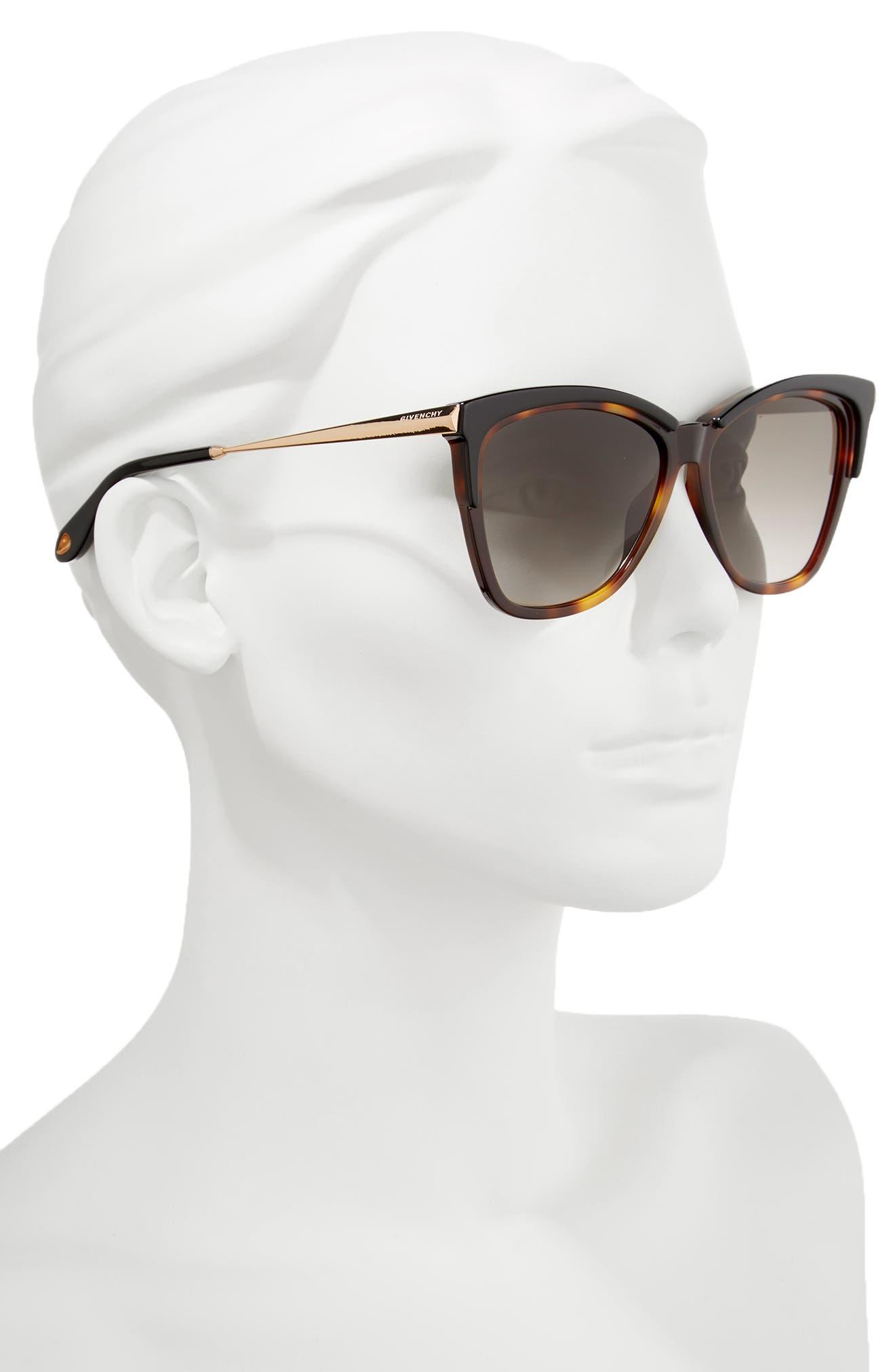 57mm Cat Eye Sunglasses,                             Alternate thumbnail 2, color,                             DARK HAVANA