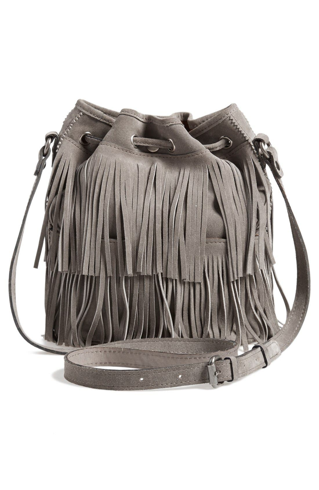 'Bronte' Fringe Bucket Bag,                             Alternate thumbnail 3, color,                             020
