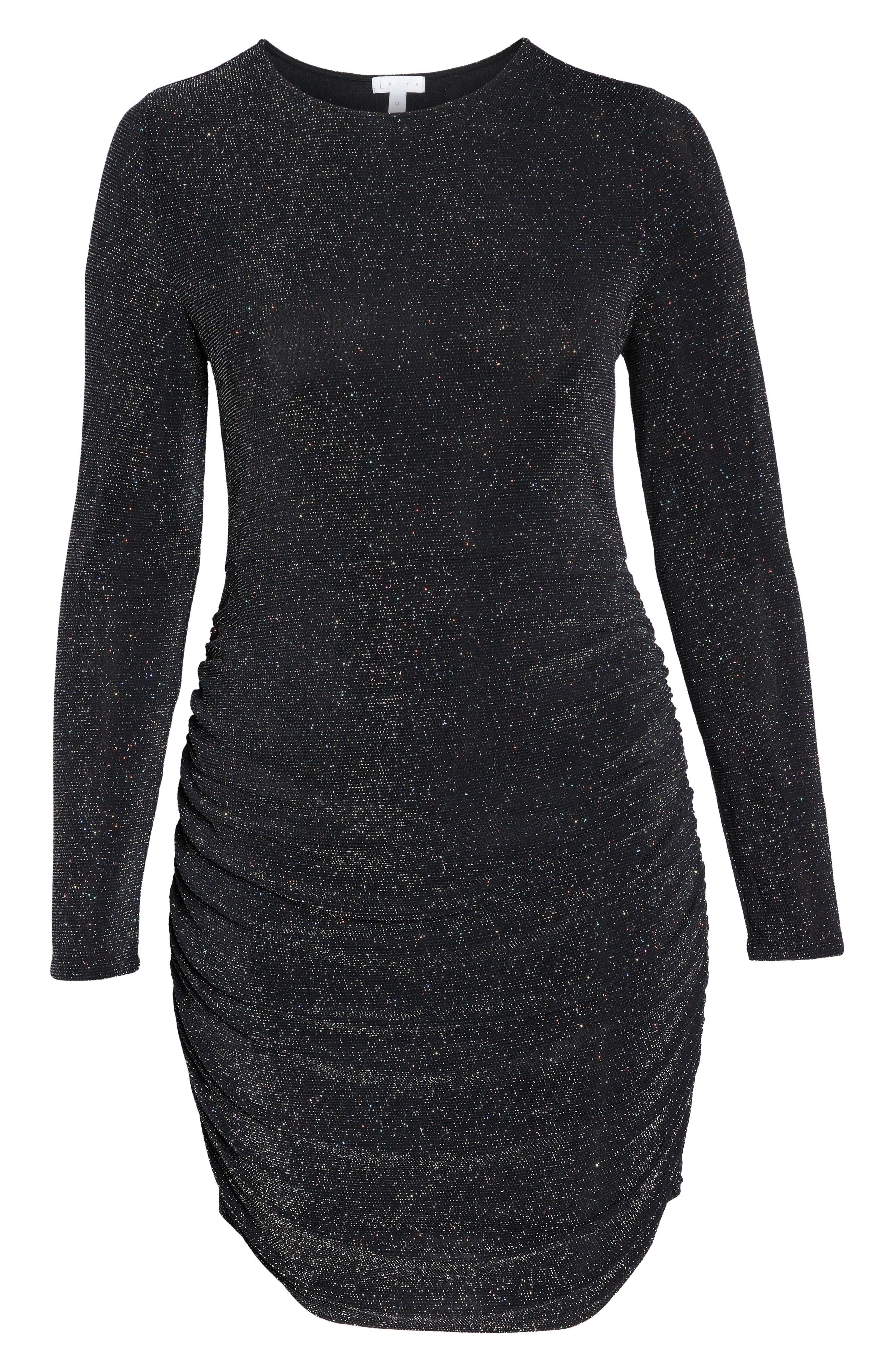 Metallic Body-Con Dress,                             Alternate thumbnail 7, color,                             BLACK MULTI GLITTER
