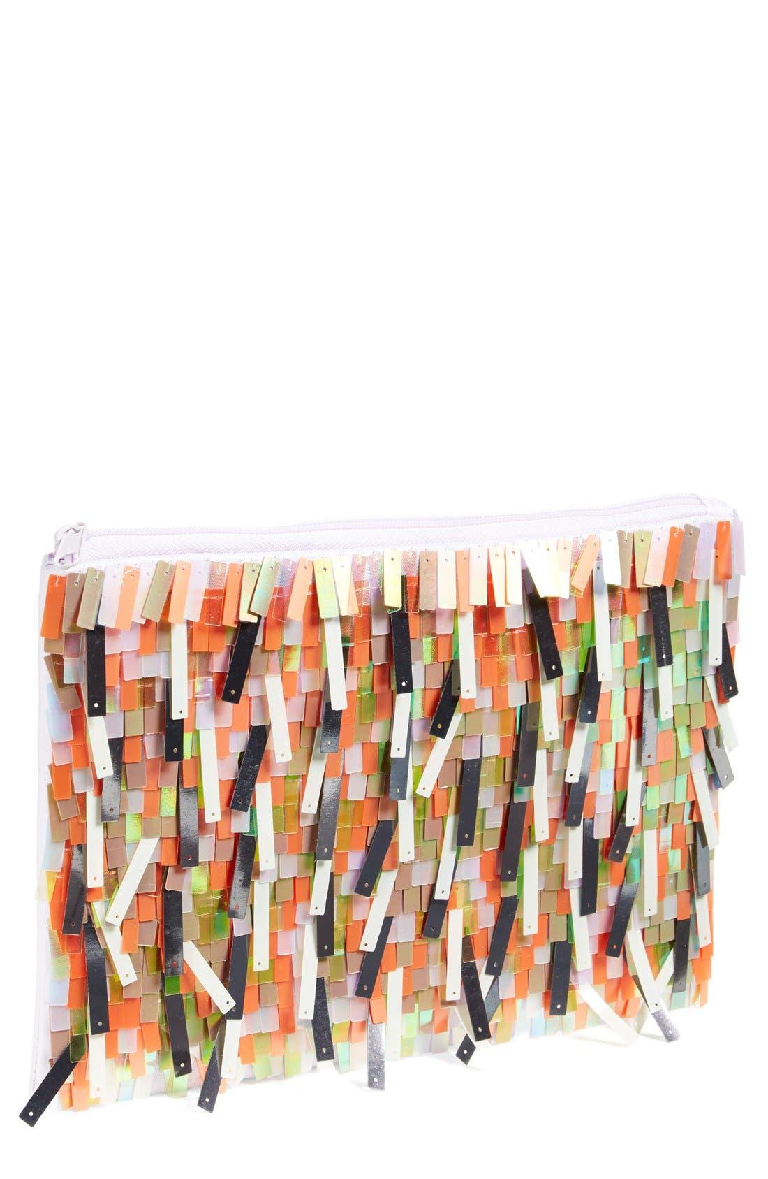BERRY Sequin Fringe Clutch, Main, color, 040