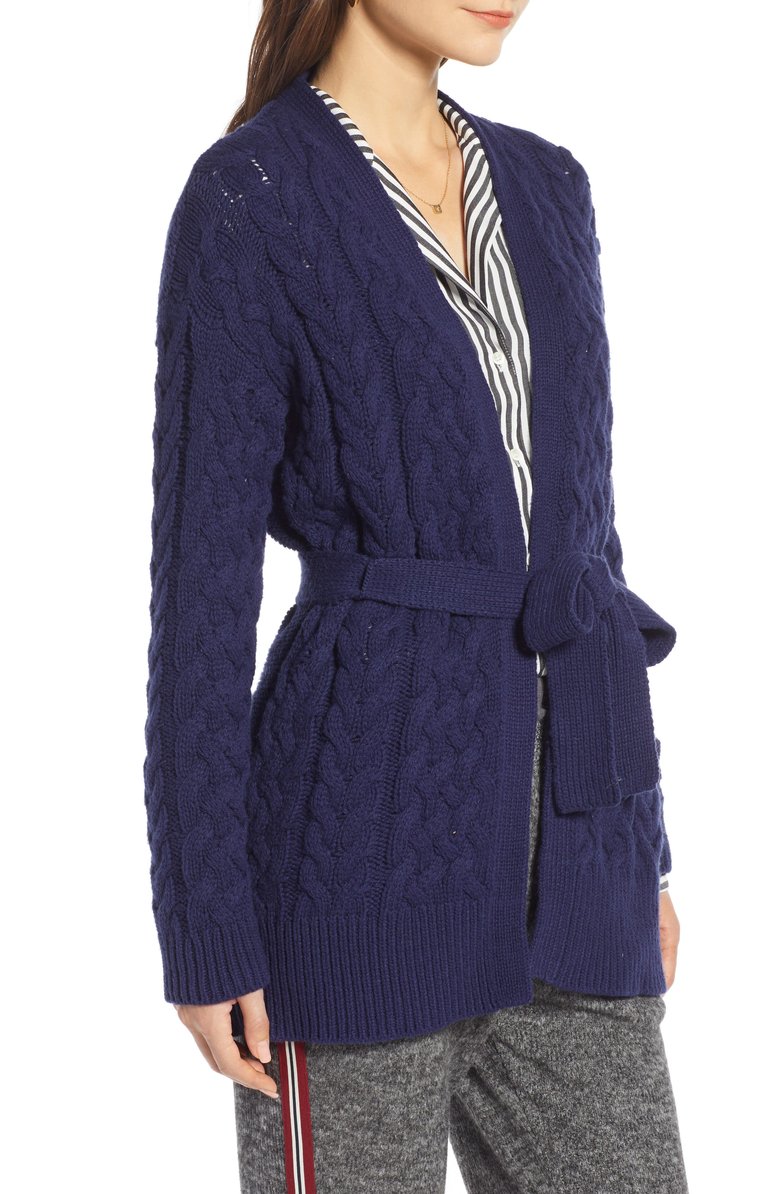TREASURE & BOND,                             Cable Knit Belted Wrap Cardigan,                             Alternate thumbnail 3, color,                             NAVY MARITIME