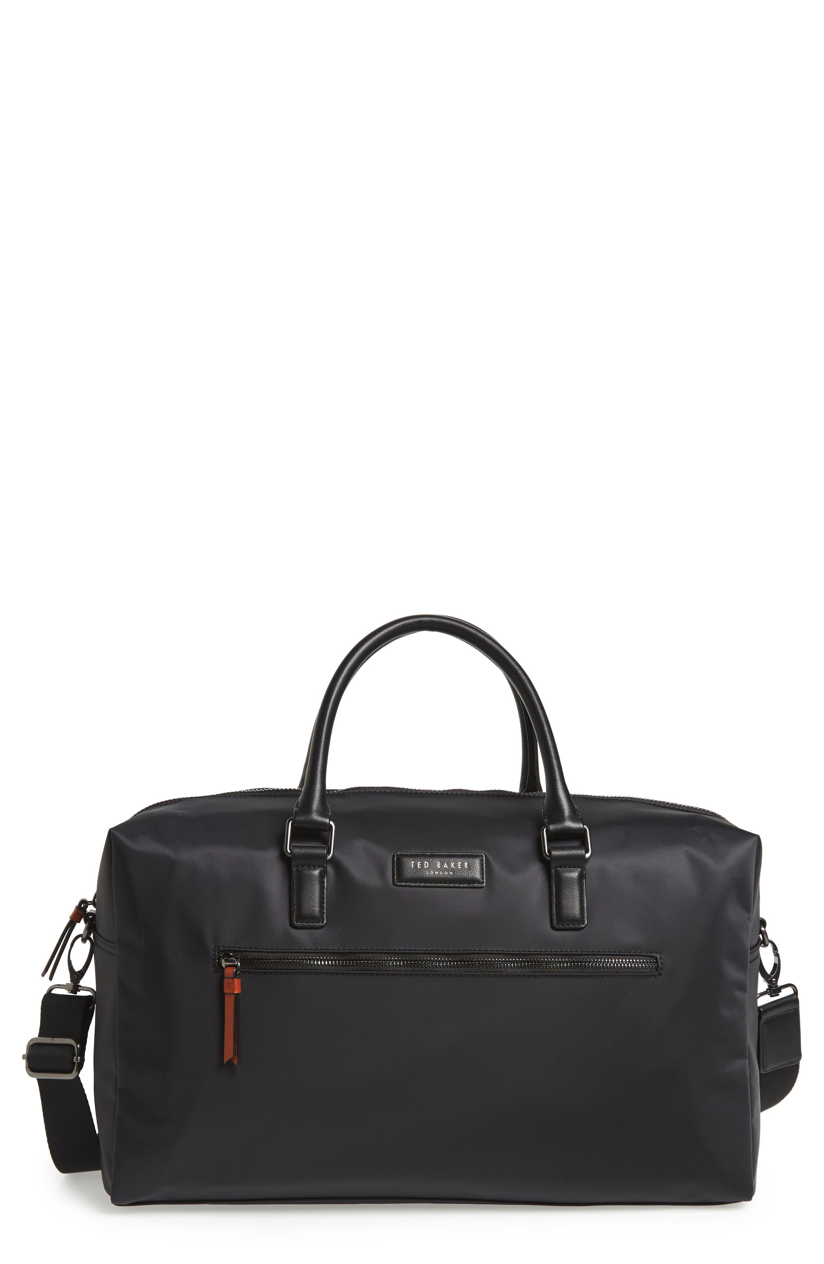 Nylon Duffel Bag, Main, color, BLACK
