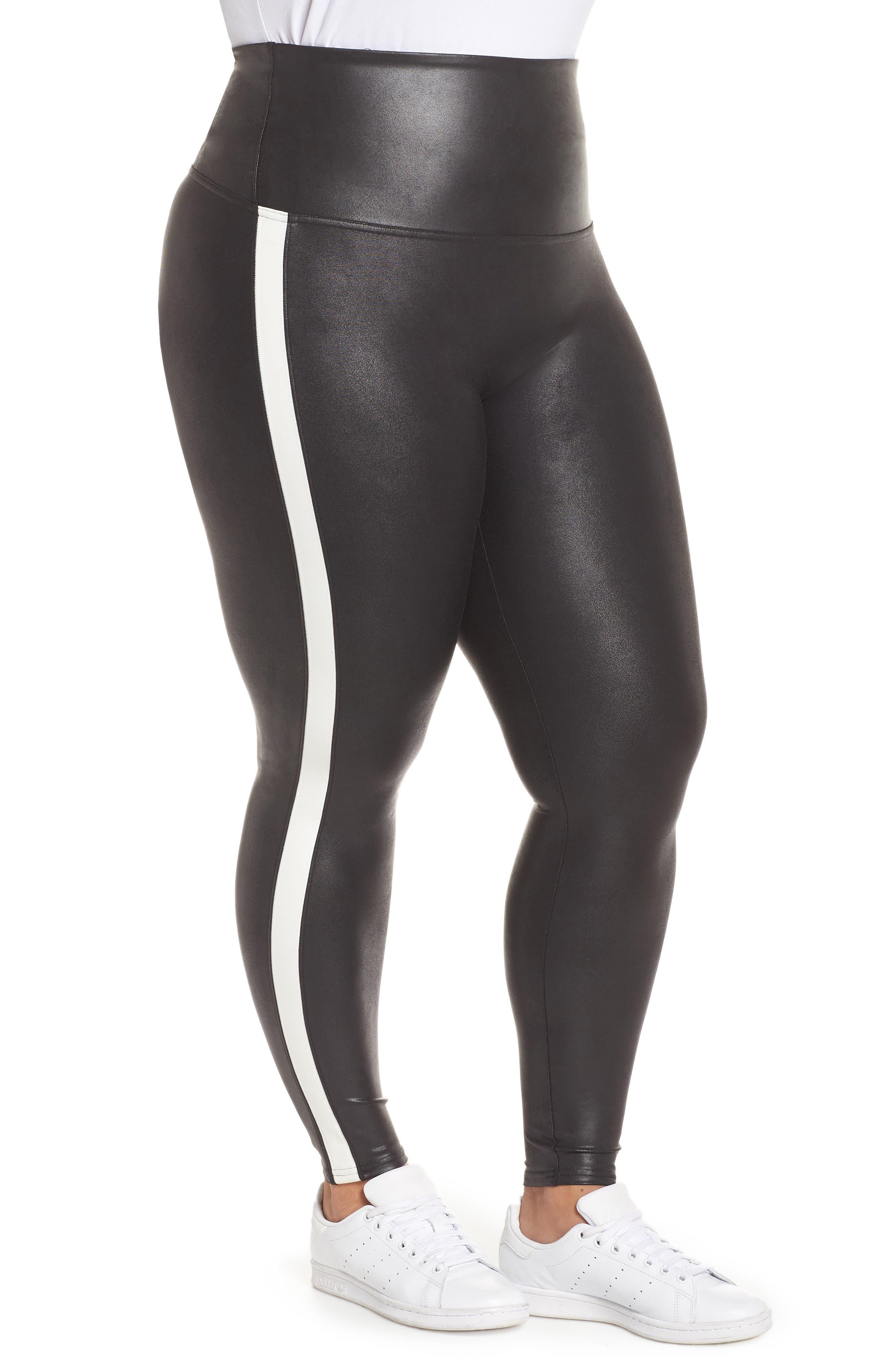 Side Stripe Faux Leather Leggings,                             Alternate thumbnail 3, color,                             VERY BLACK/WHT