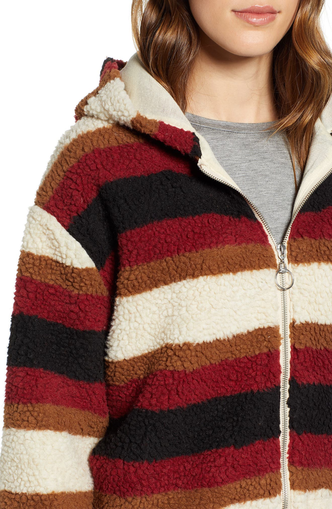 Stripe Fleece Hooded Jacket,                             Alternate thumbnail 4, color,                             NATURAL STRIPE