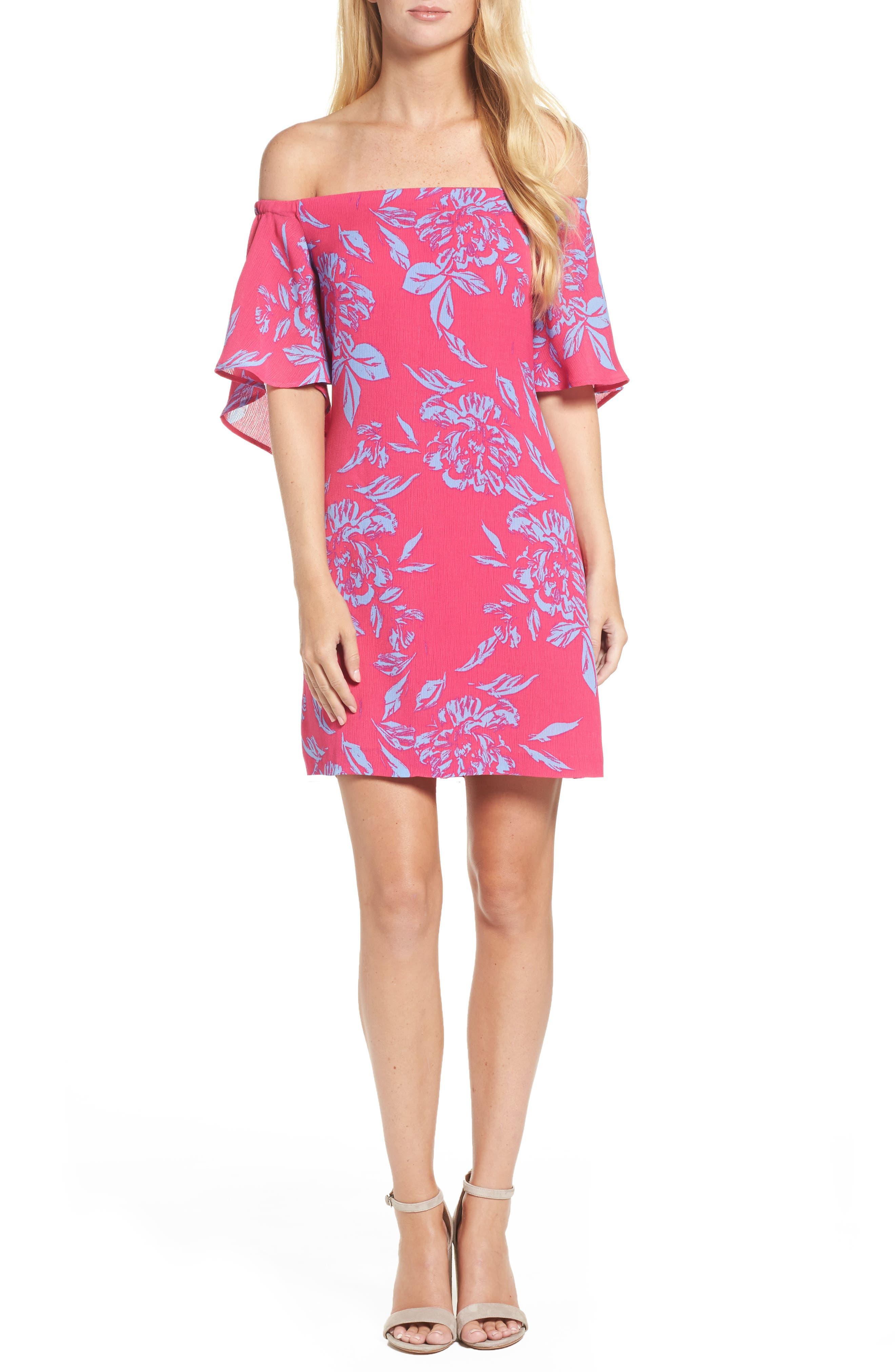 Off the Shoulder Print Shift Dress,                         Main,                         color, 660
