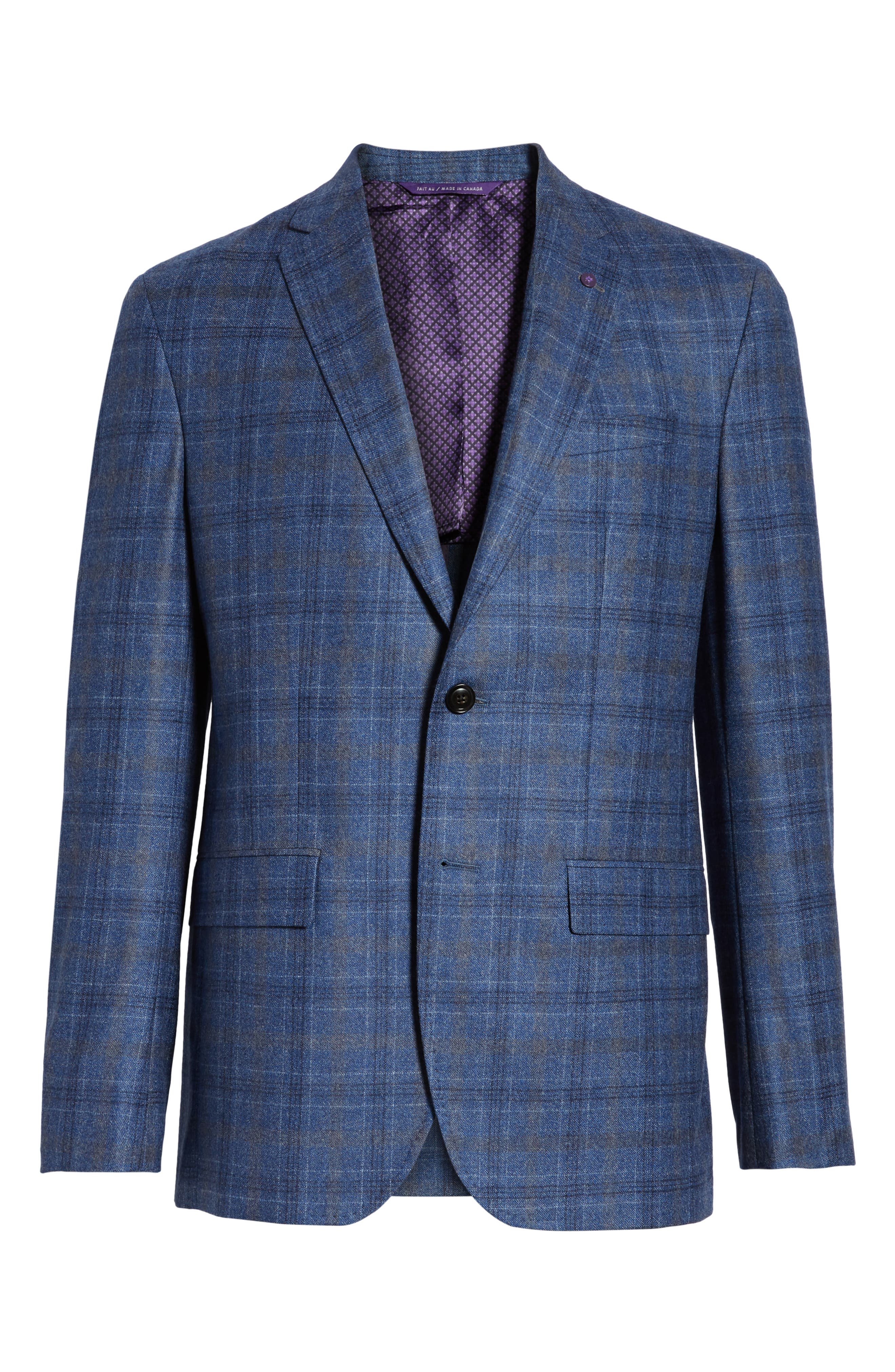 Konan Trim Fit Plaid Wool Sport Coat,                             Alternate thumbnail 5, color,                             BLUE