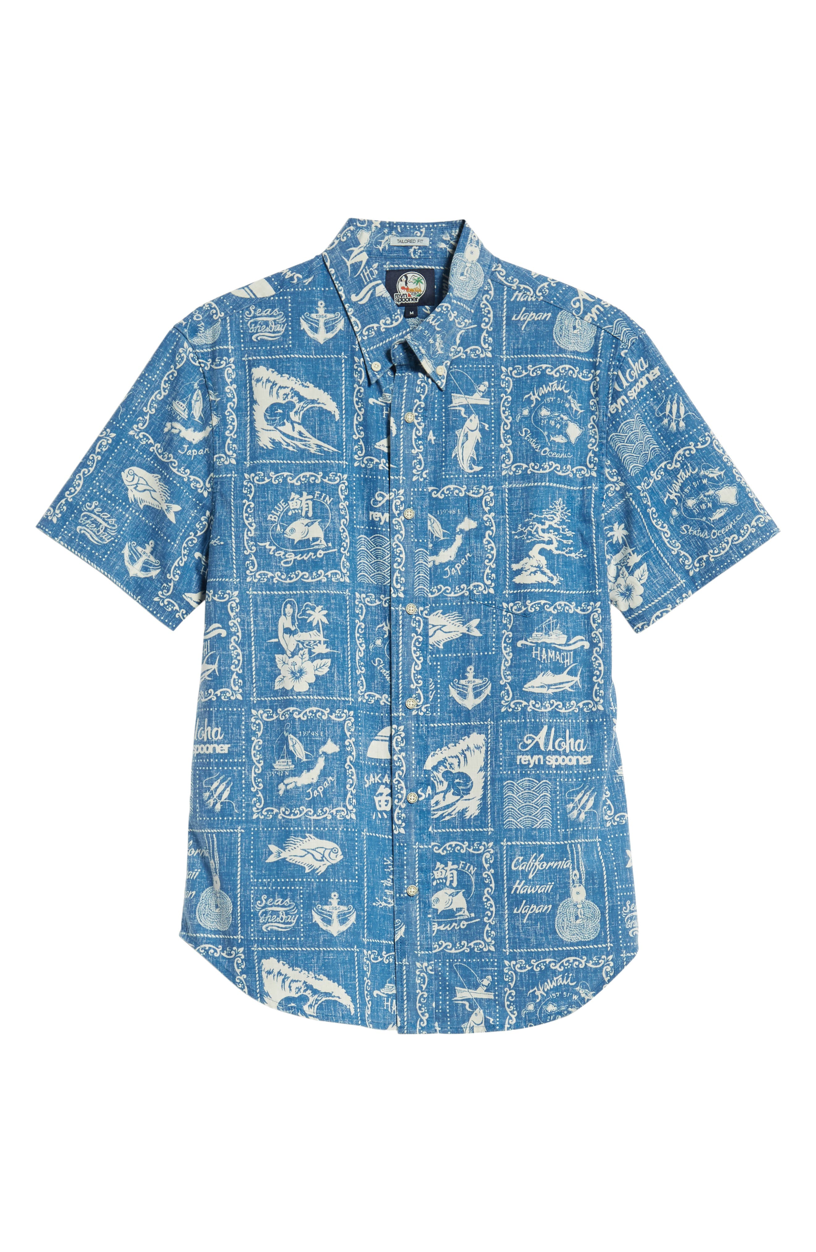Stories from the East Regular Fit Sport Shirt,                             Alternate thumbnail 6, color,                             MARINE