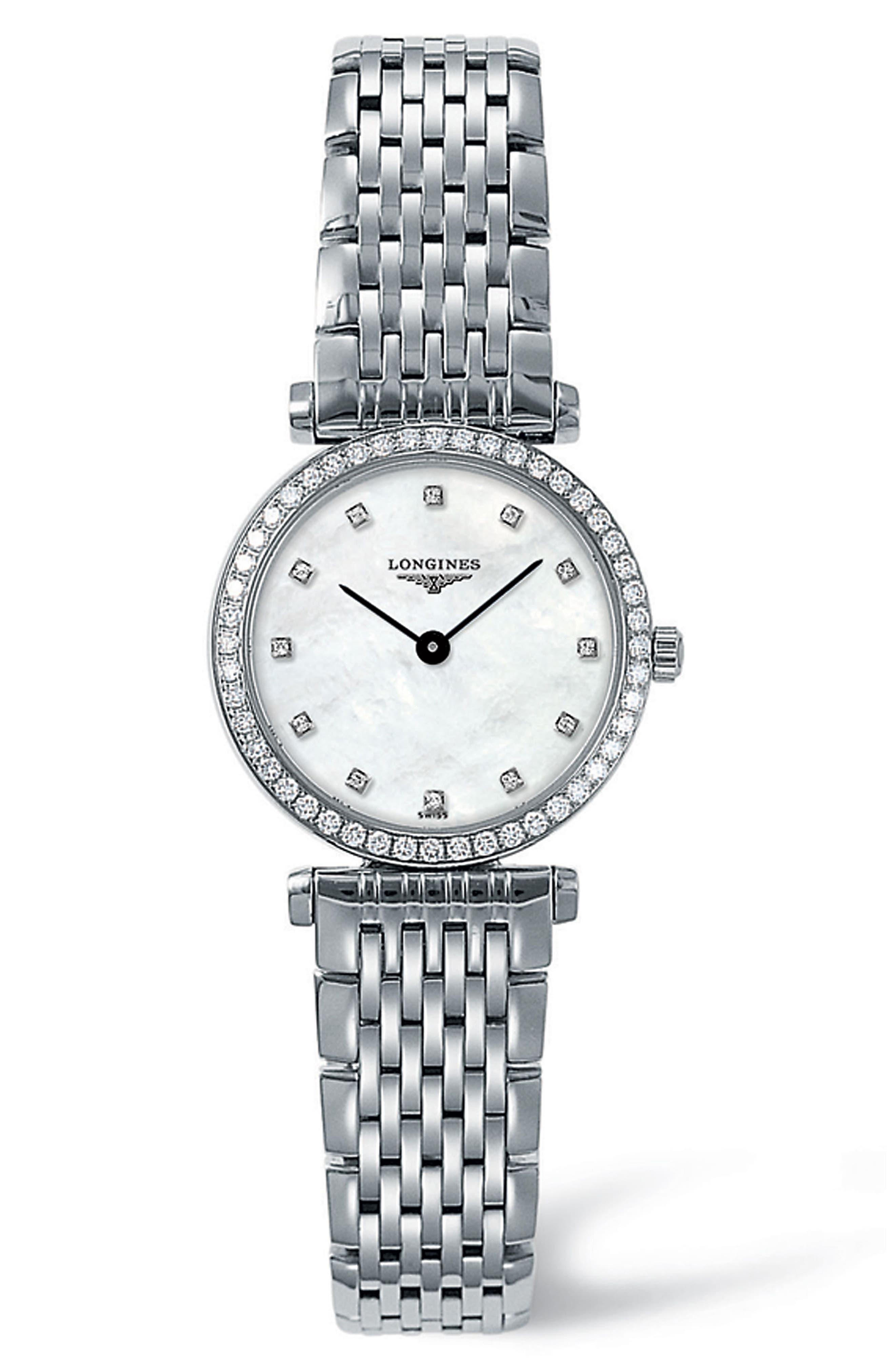 La Grande Classique de Longines Diamond Bracelet Watch, 24mm,                             Main thumbnail 1, color,                             SILVER