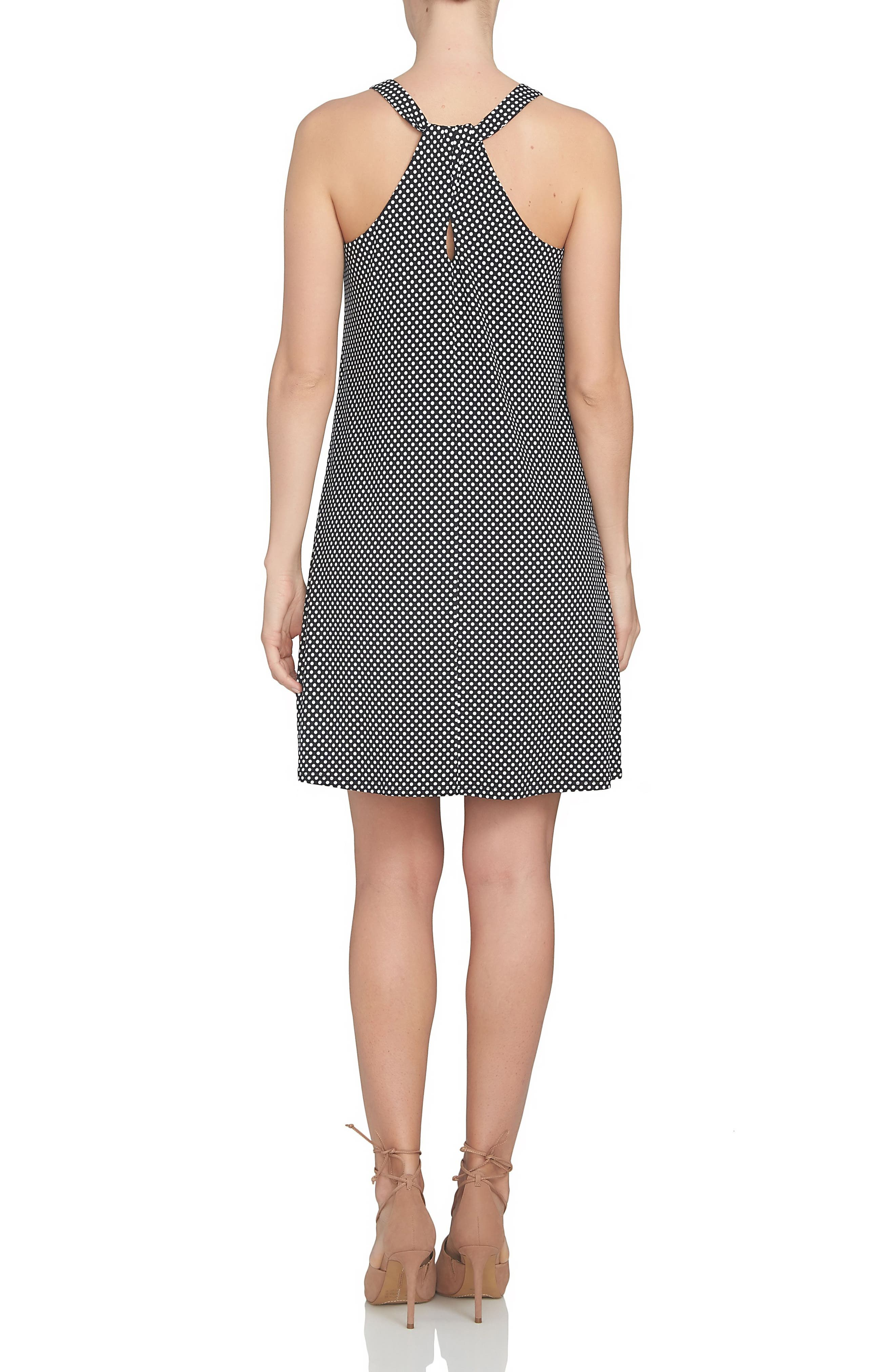 Polka Dot Twist Back Knit Shift Dress,                             Alternate thumbnail 2, color,                             001