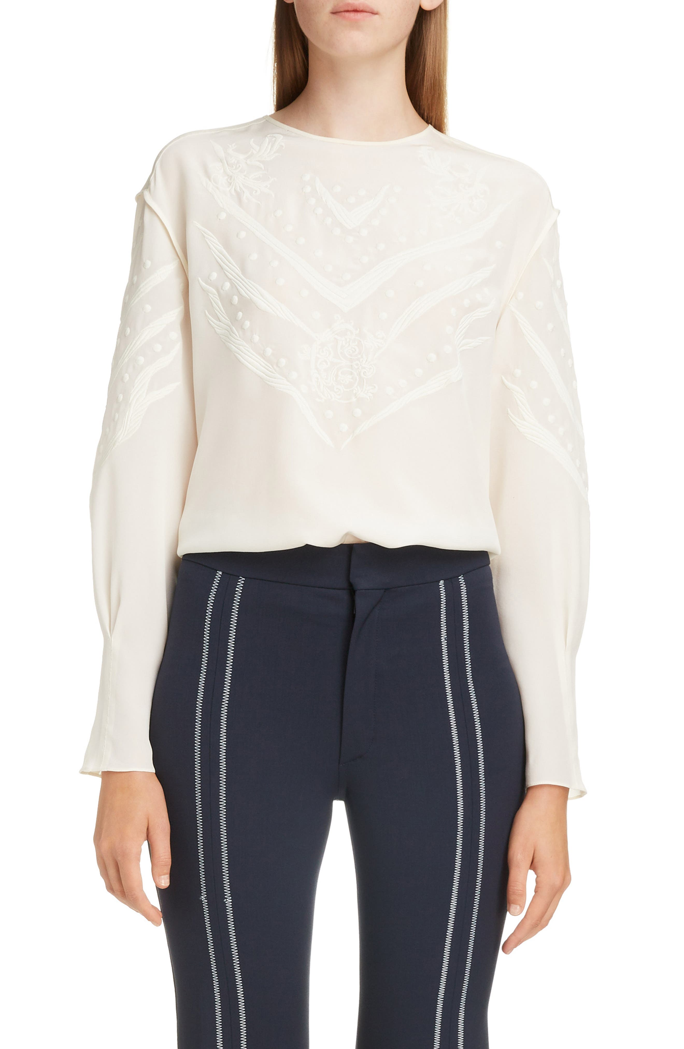Brocade Detail Silk Blouse by ChloÉ