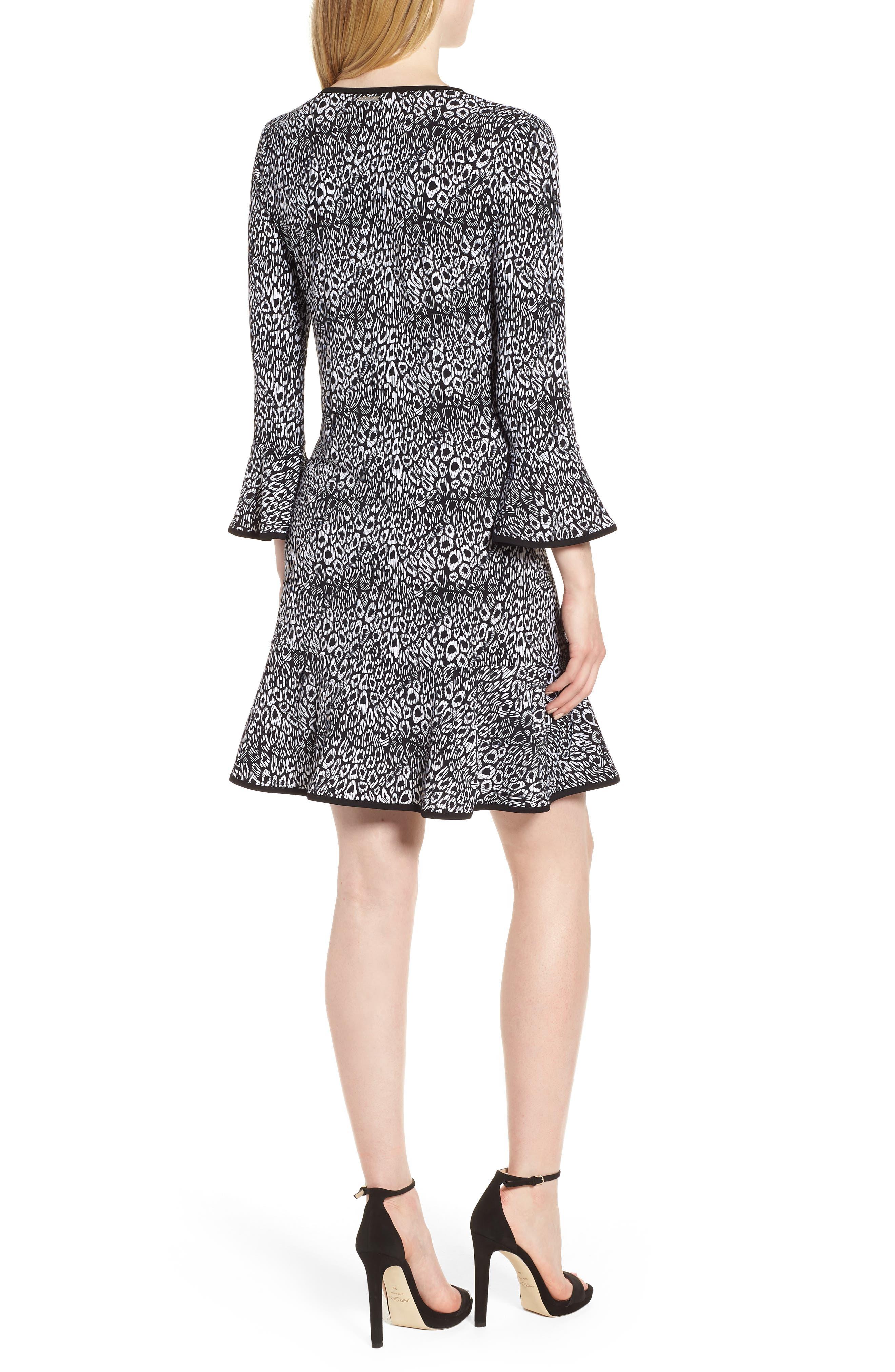 Wavy Leopard Flounce Dress,                             Alternate thumbnail 2, color,                             001