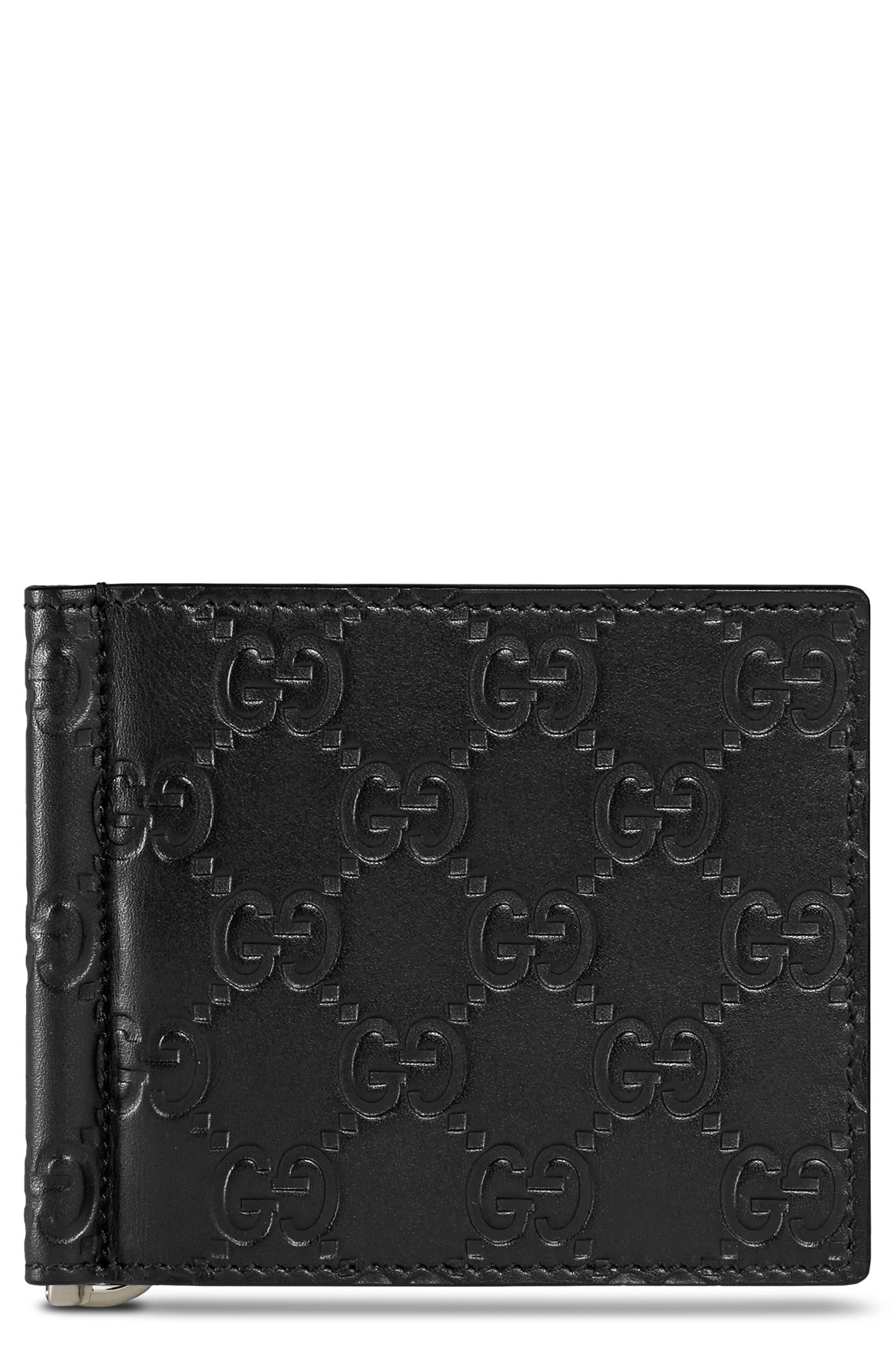 Signature Leather Money Clip Card Case,                         Main,                         color, 001