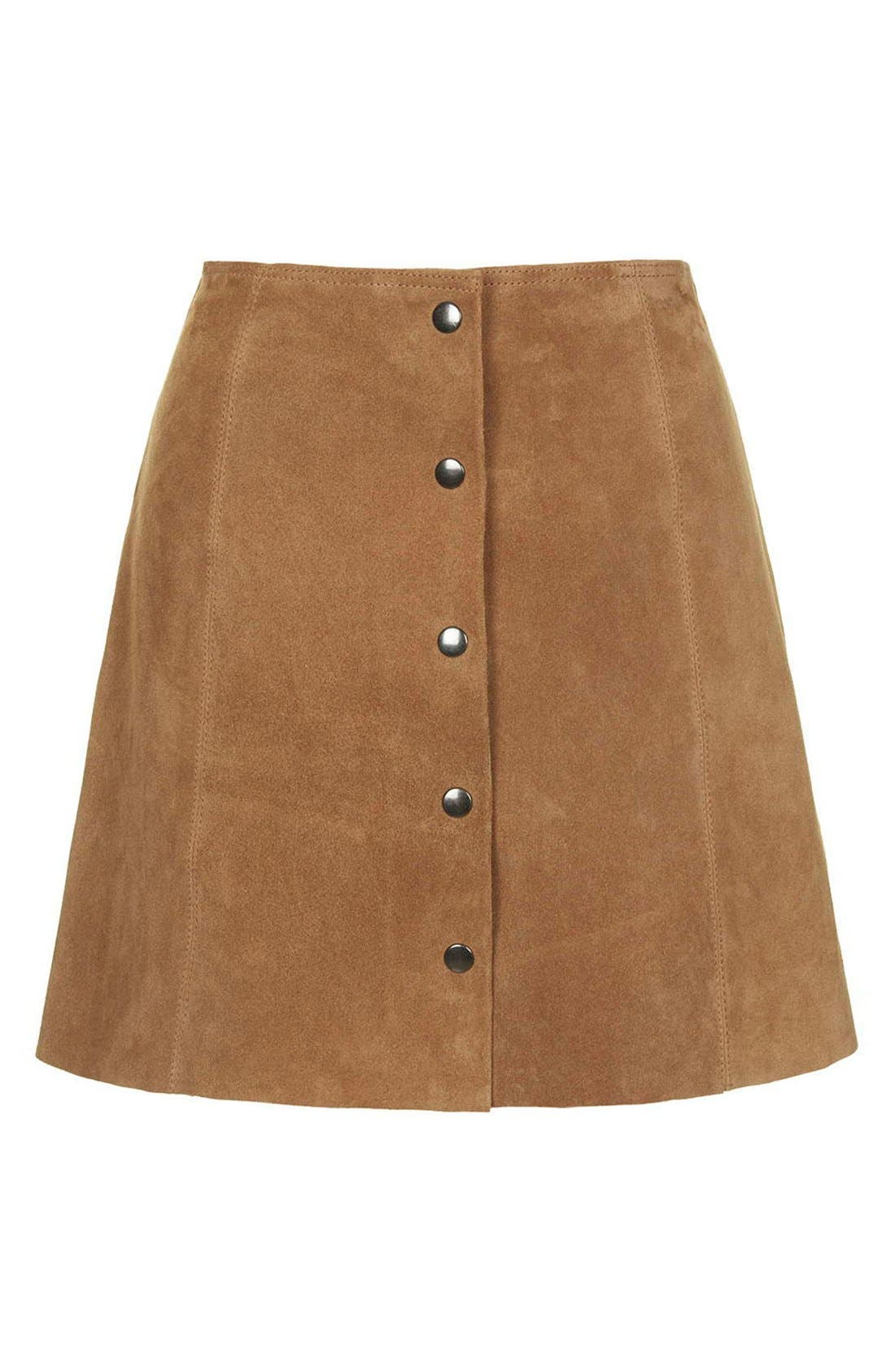 Suede A-Line Skirt,                             Alternate thumbnail 4, color,                             210