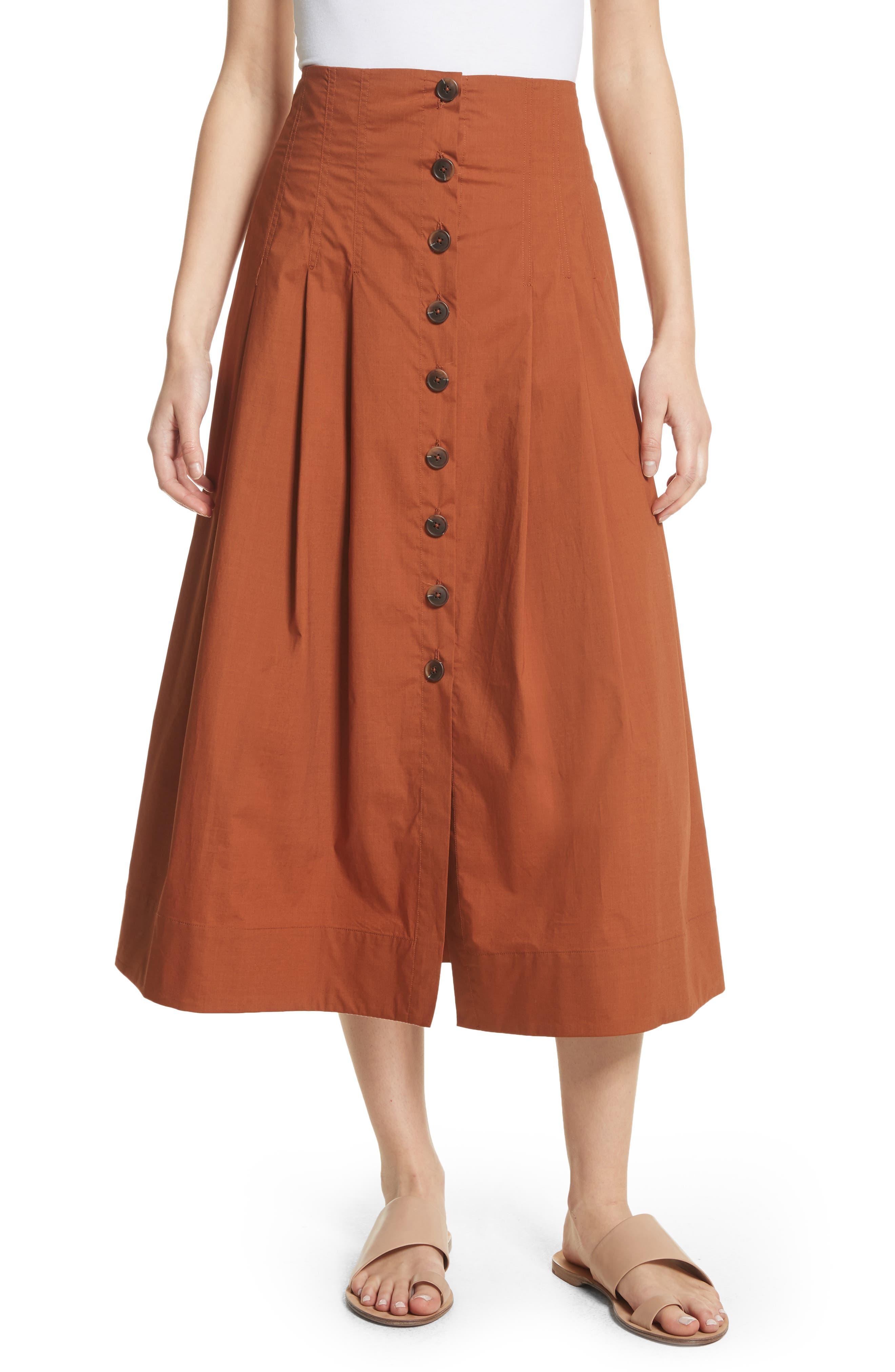 Azalia Button Front Poplin Midi Skirt,                             Main thumbnail 1, color,                             200