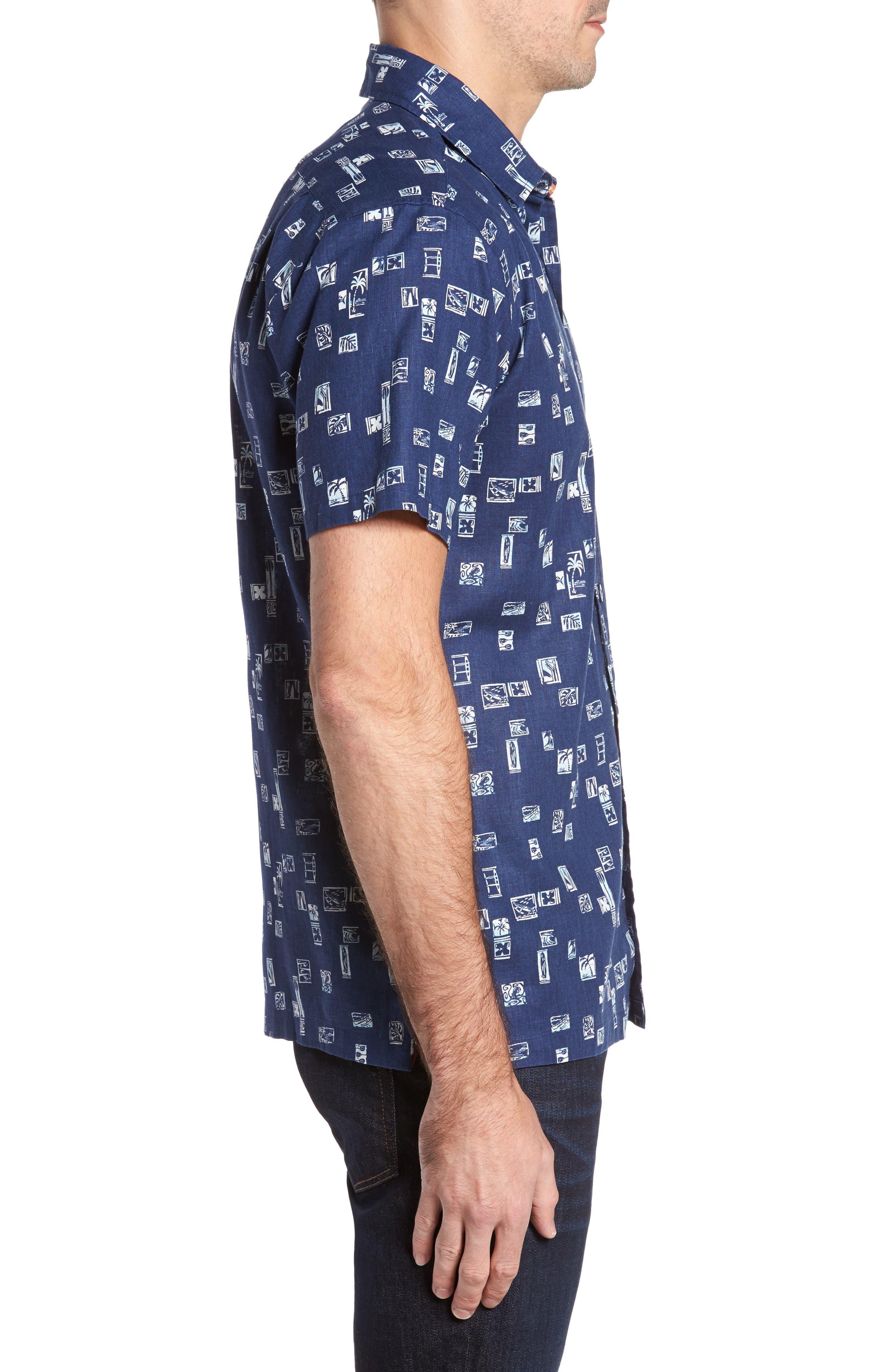 Beach Party Trim Fit Print Sport Shirt,                             Alternate thumbnail 3, color,                             415