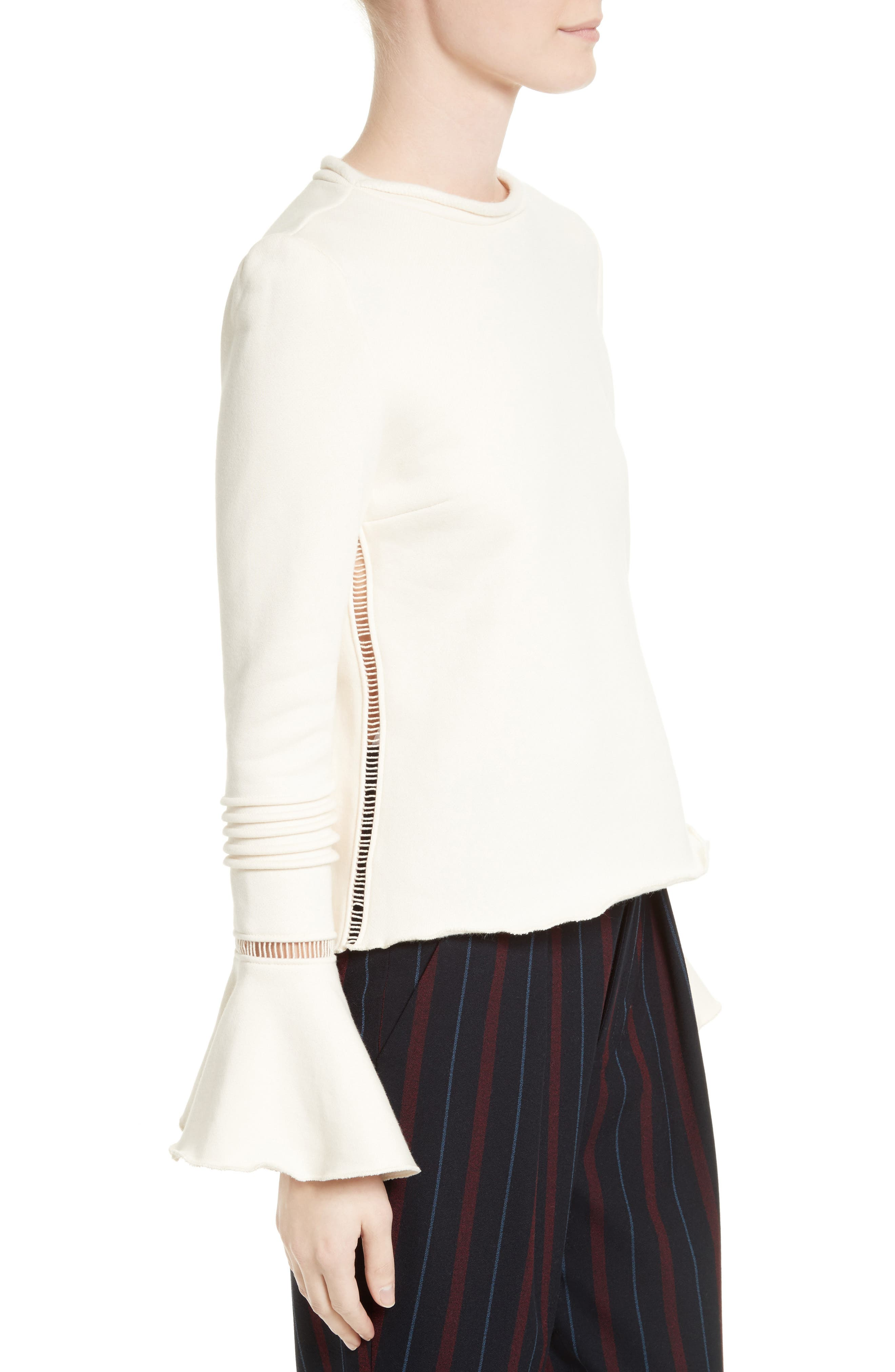 Bell Sleeve Cotton Top,                             Alternate thumbnail 3, color,                             900