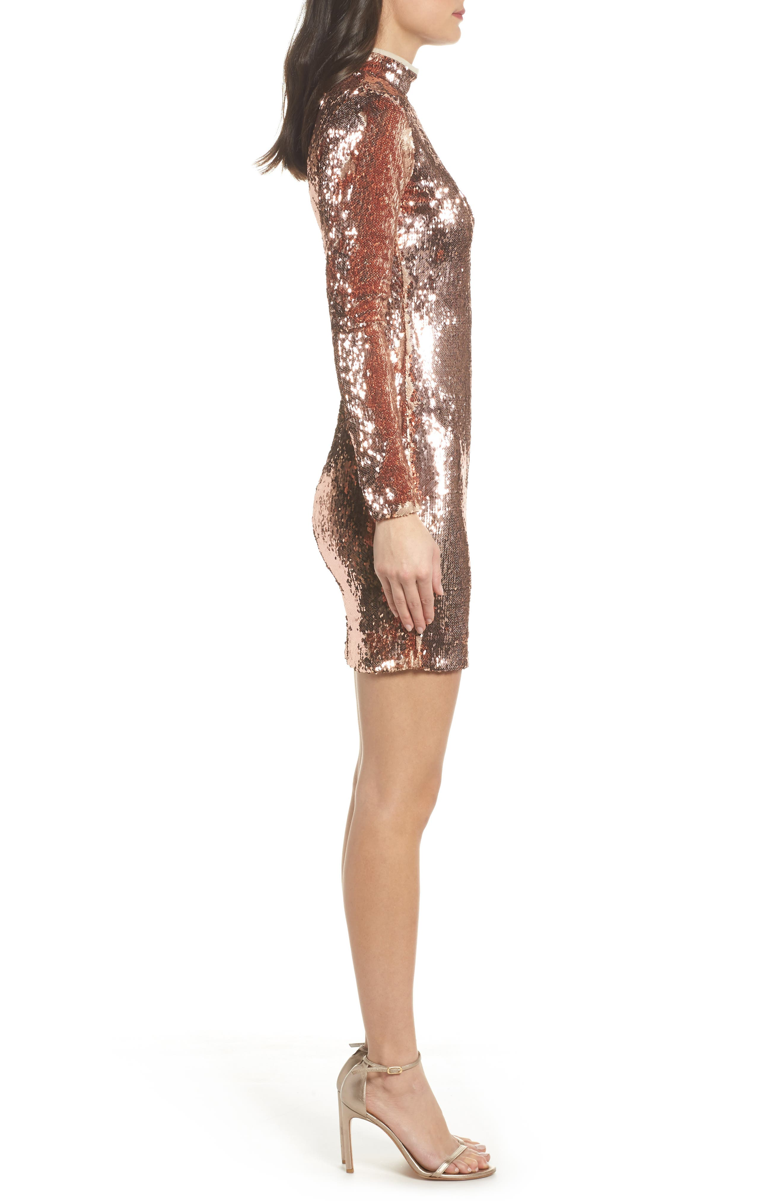 Katy Reversible Sequin Body-Con Dress,                             Alternate thumbnail 3, color,                             ROSE GOLD/ NUDE