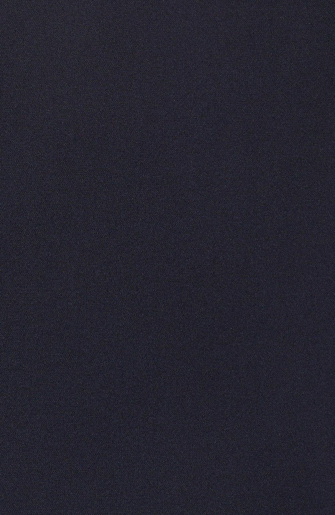Illusion Yoke Crepe Sheath Dress,                             Alternate thumbnail 6, color,                             402