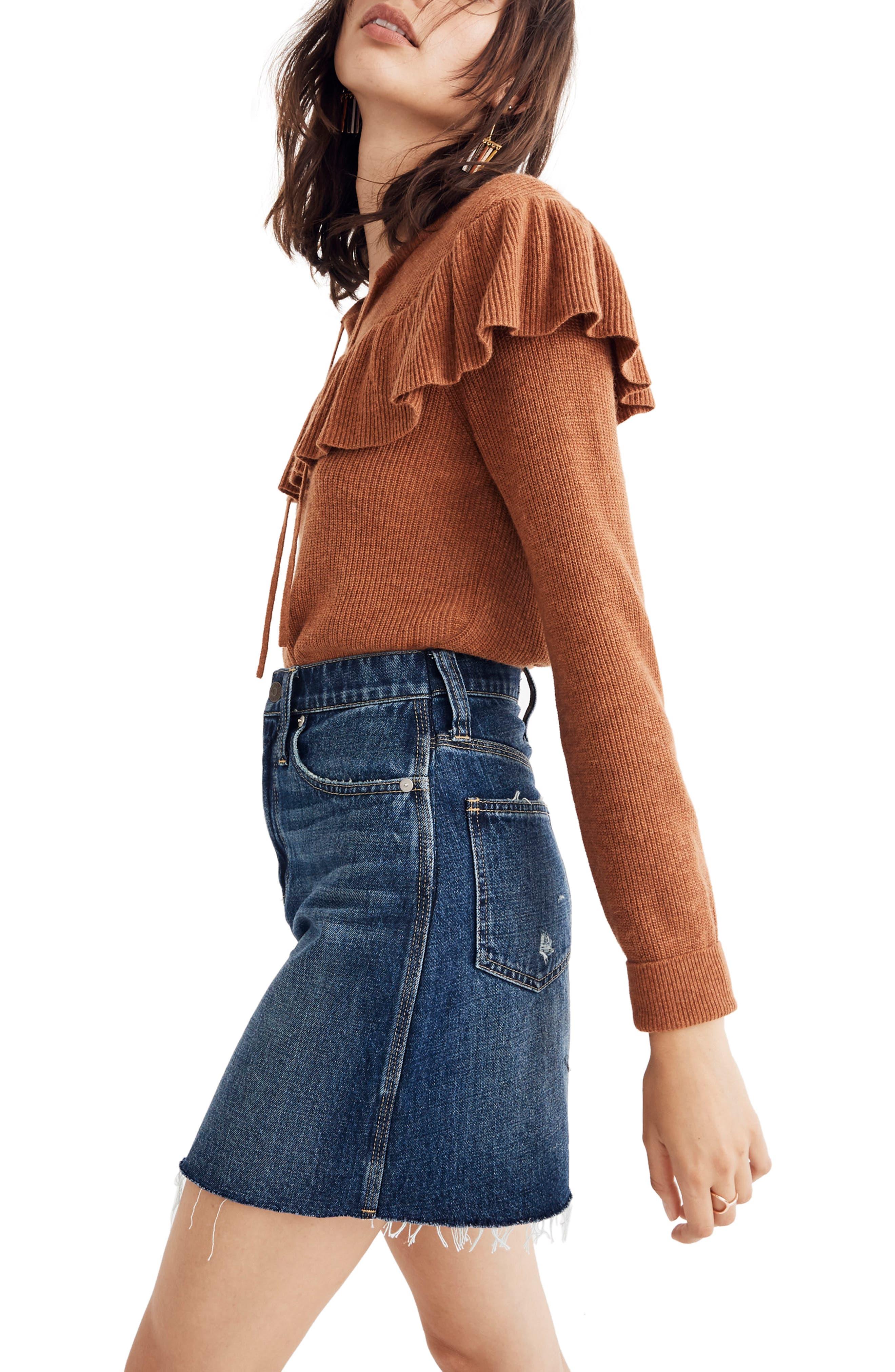 Reworked Rigid Denim Straight Miniskirt,                             Alternate thumbnail 3, color,                             MAXDALE WASH
