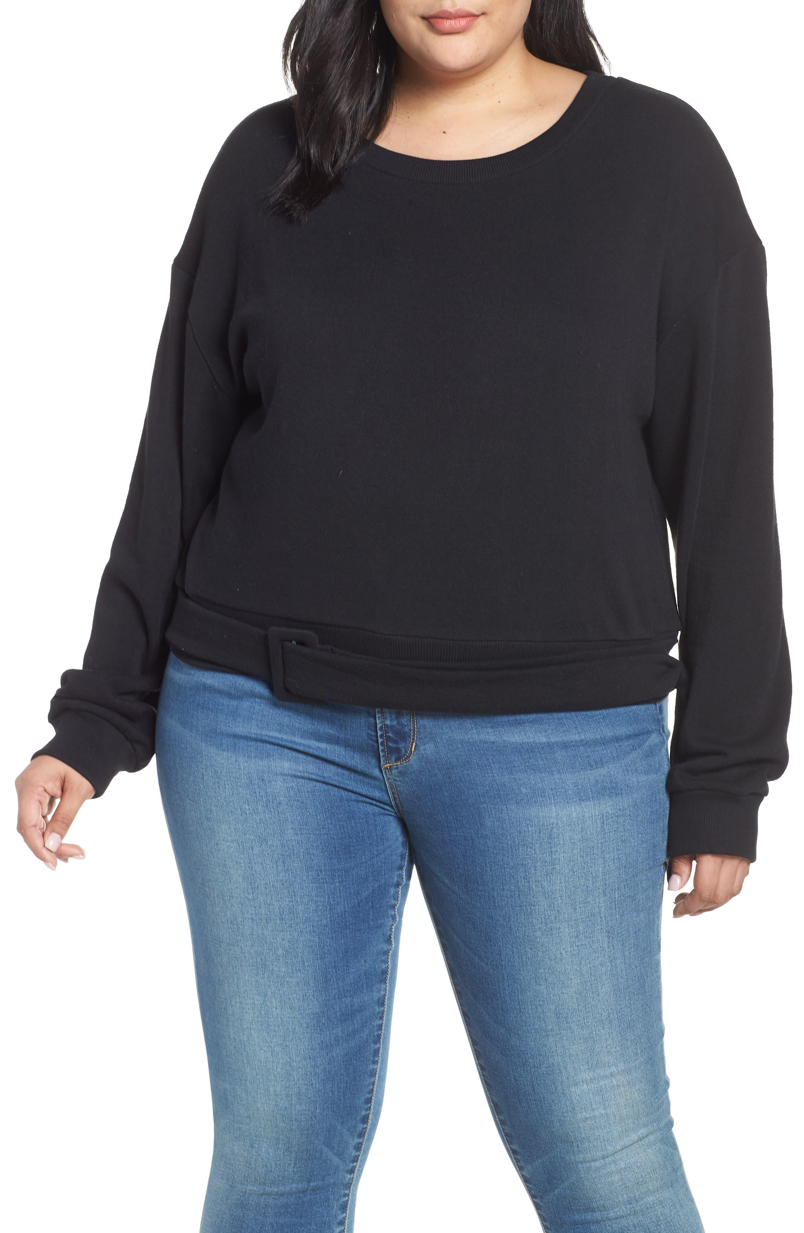 Belted Fleece Sweatshirt, Main, color, 001