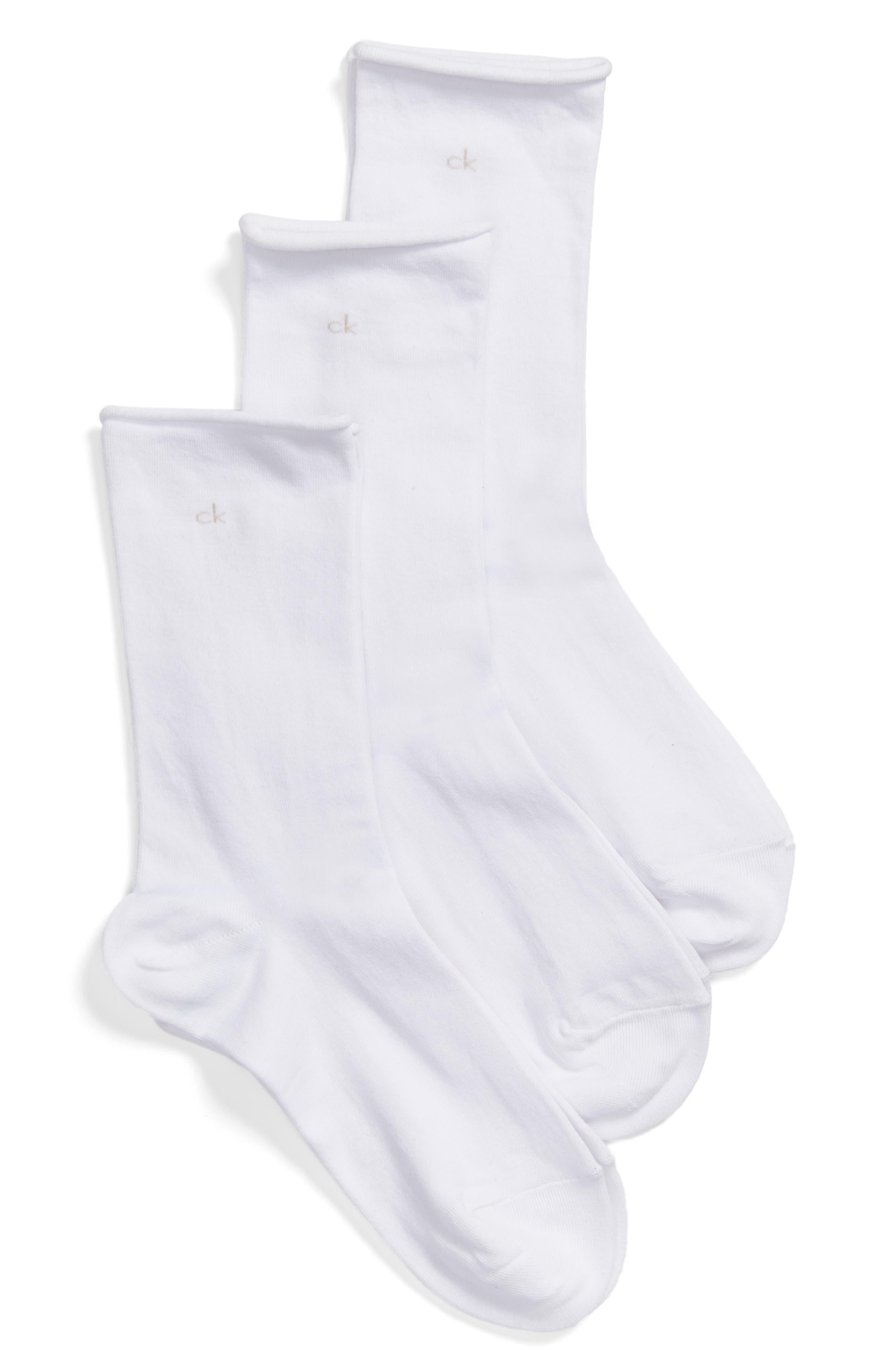 Roll Top Crew Socks,                         Main,                         color, 100