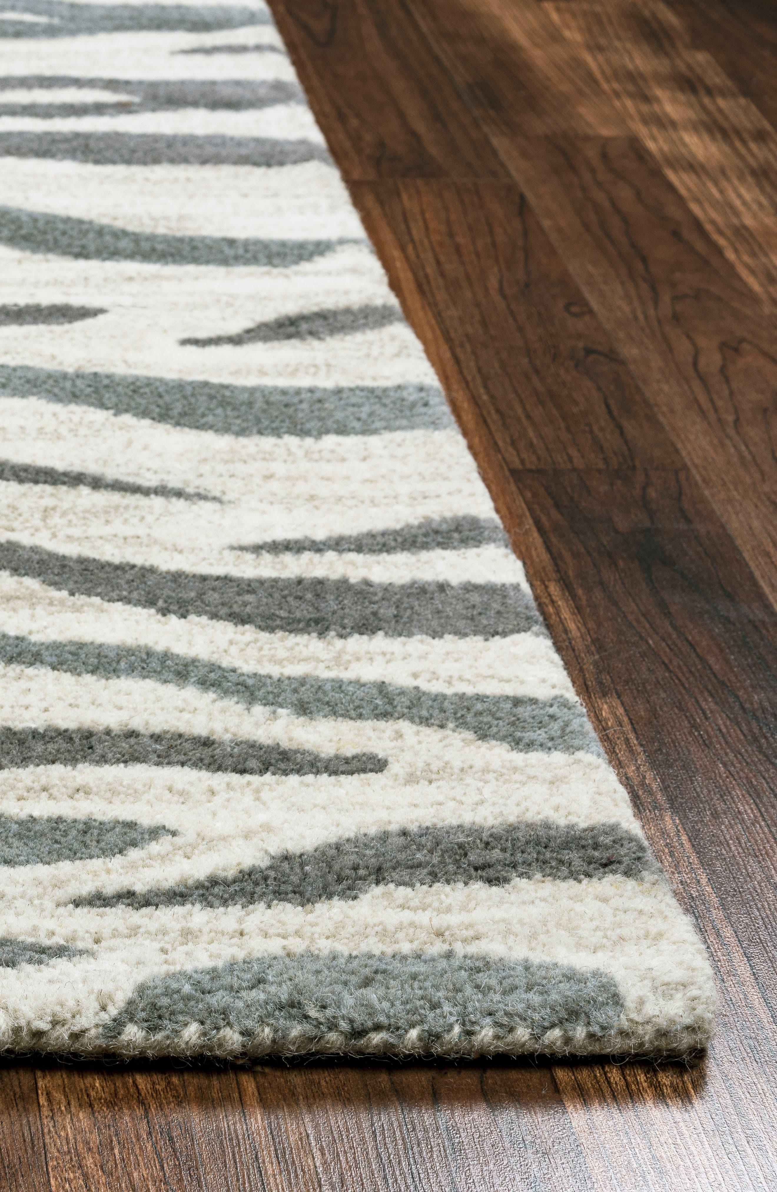 'Valintino Zebra' Hand Tufted Wool Area Rug,                             Alternate thumbnail 4, color,                             020