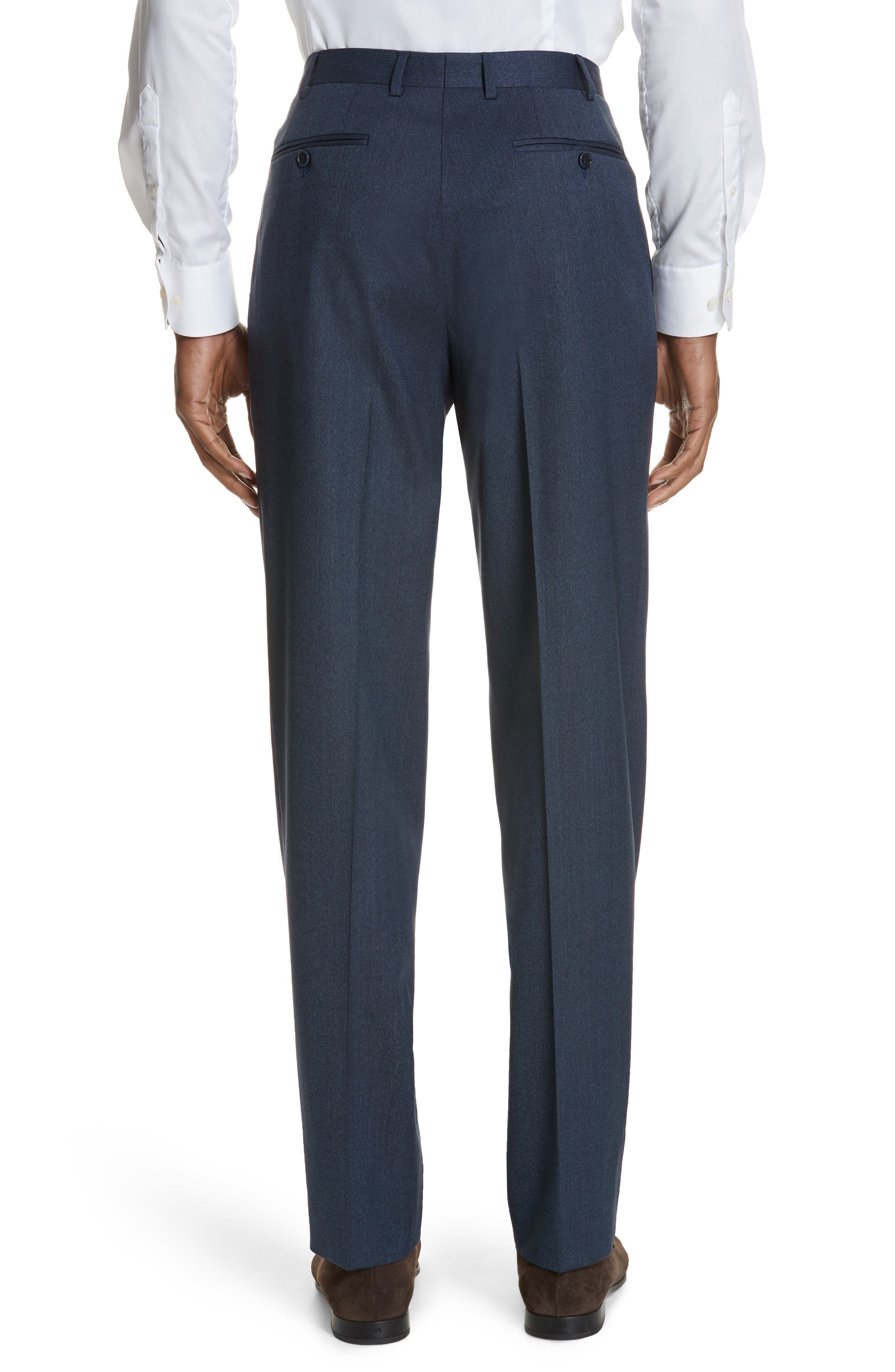 Cavaltry Flat Front Solid Stretch Wool Trousers,                             Alternate thumbnail 2, color,                             DARK BLUE